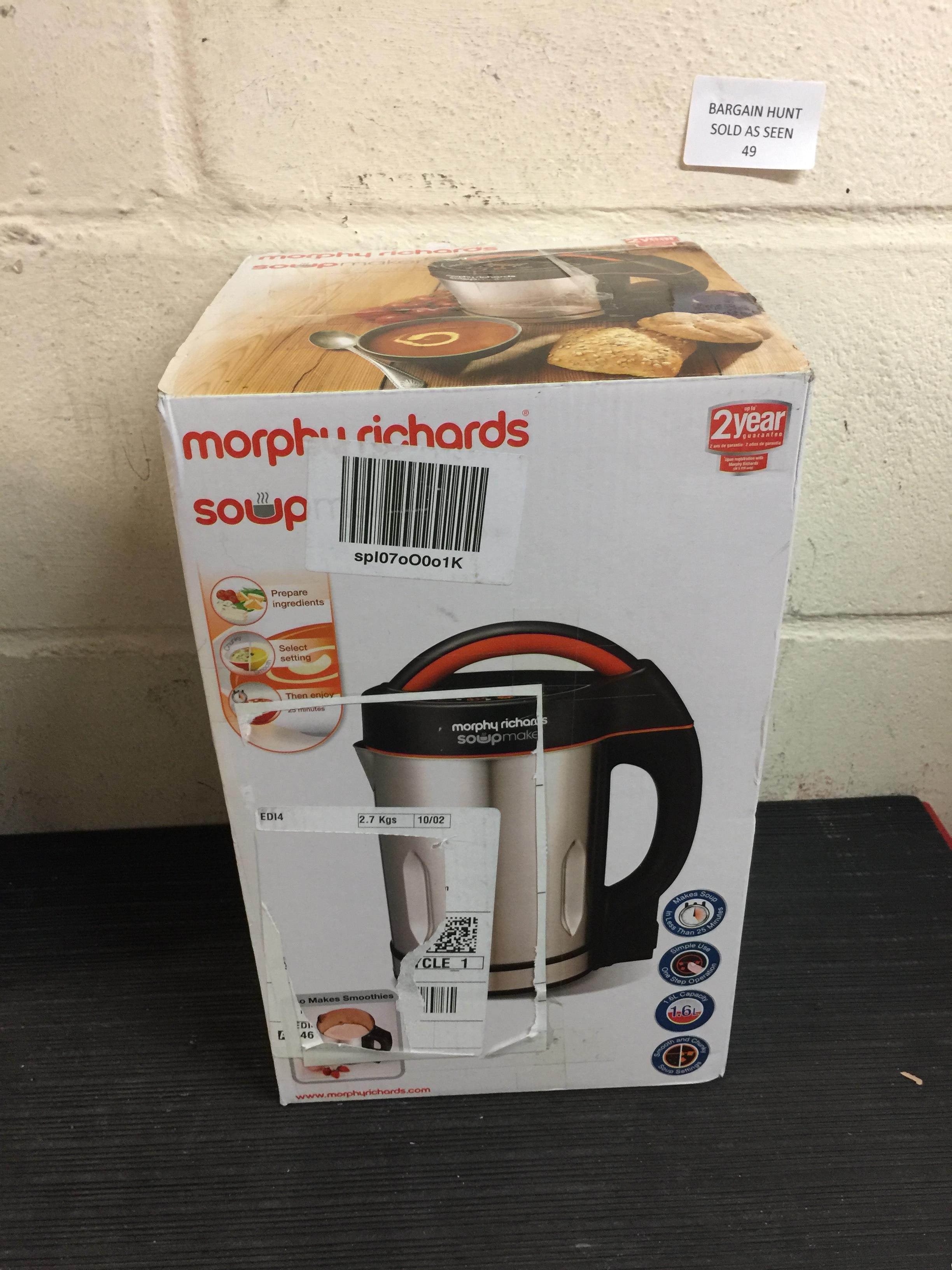 Lot 49 - Morphy Richards Soupmaker 48822 Stainless Steel Soup Maker