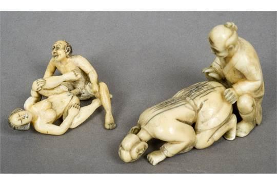 Ben noto Two pairs of 19th century Japanese ivory erotic okimono Each  PK31