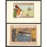 TWO POSTCARDS OF THE RED STAR LINE VINTAGE POSTER SERIES ANTWERPEN - AMERIKA - NEW YORK C5&C7