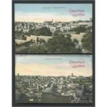 JEWISH INTEREST TWO VINTAGE CHRISTMAS GREETINGS POSTCARDS PANORAMA OF JERUSALEM / BETHLEHEM