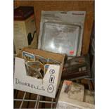 Lot of Doorbells, locking thermostat cover, door handle; doorbell extenders; door alert