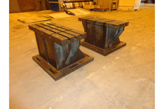 """Lot 51a - Set of 2 T-Slotted Riser Blocks Knee Hold Down Plates 42""""L x 16"""" W x 25""""H"""