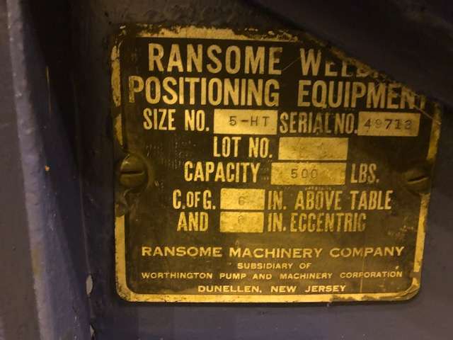 Lot 29 - Ransome Welding Positioner