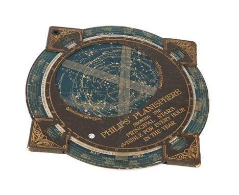 Philips' Planisphere, c.1900, English stamped to the front 'Philips' Planisphere showing the principle Stars Visible For Ever