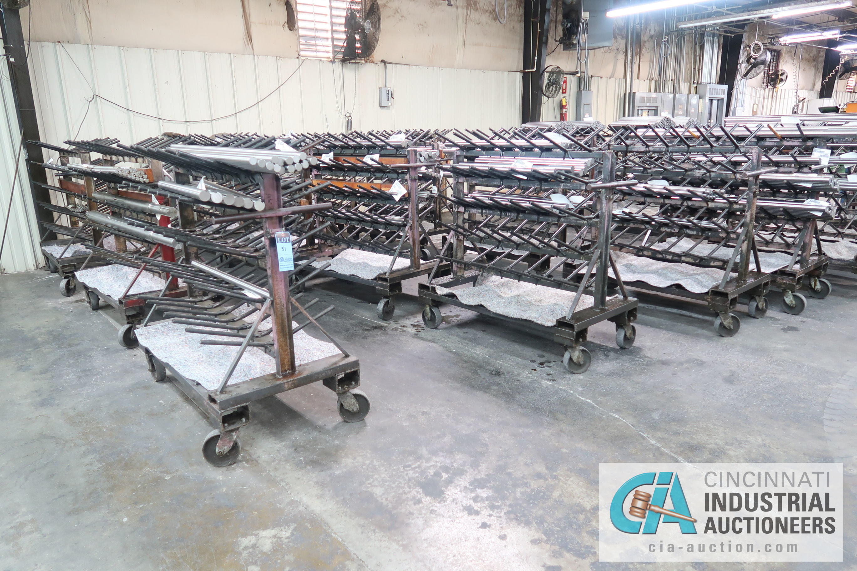 """APPROX. 24"""" X 50"""" X 48"""" HIGH HEAVY DUTY PORTABLE MULTI LEVEL MATERIAL CARTS ** CARTS ONLY, NO"""