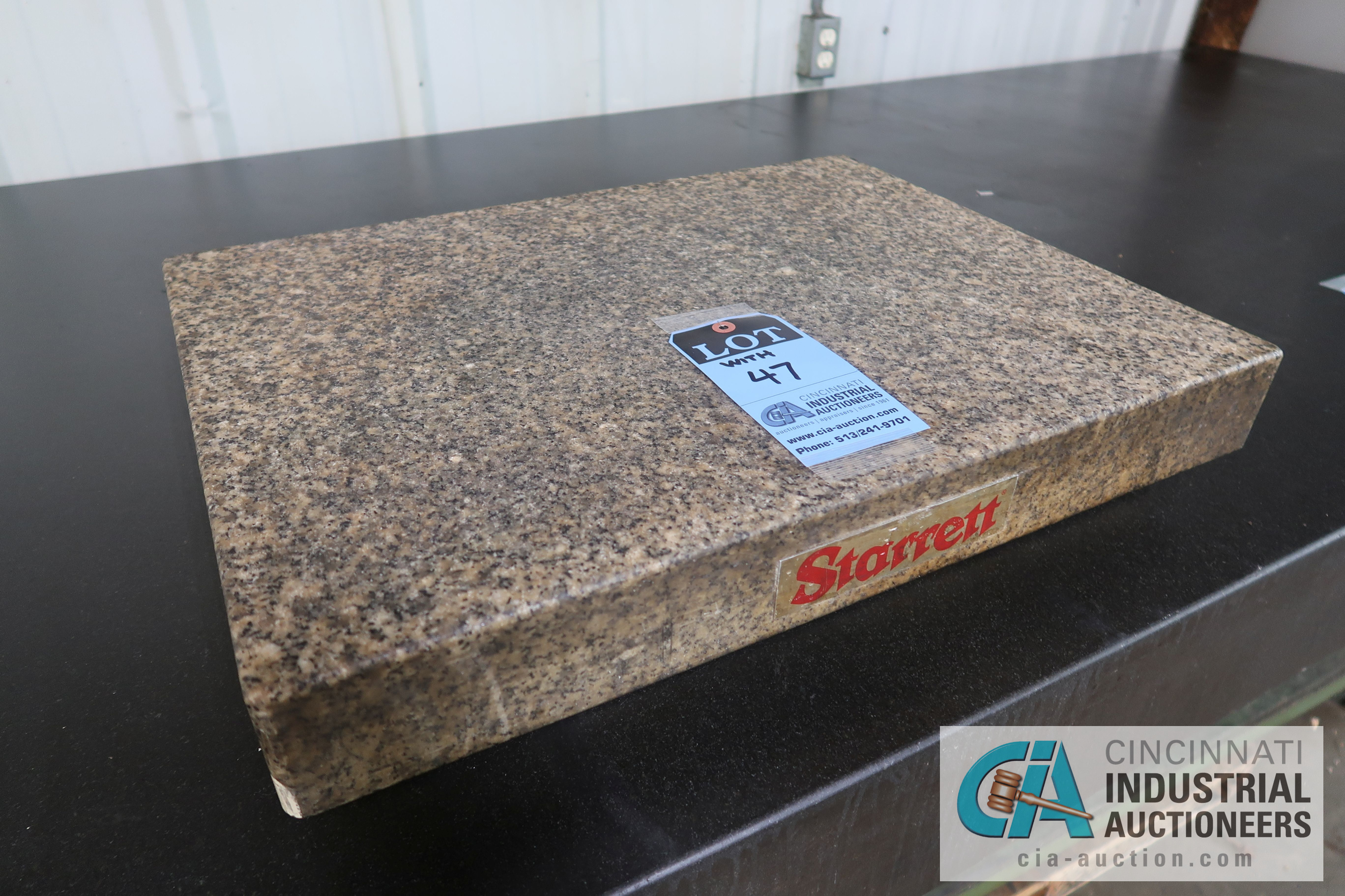 """Lot 47 - 48"""" X 96"""" X 6"""" THICK BLACK GRANITE SURFACE PLATE WITH STAND AND 18"""" X 24"""" X 5"""" THICK STARRETT TWO"""