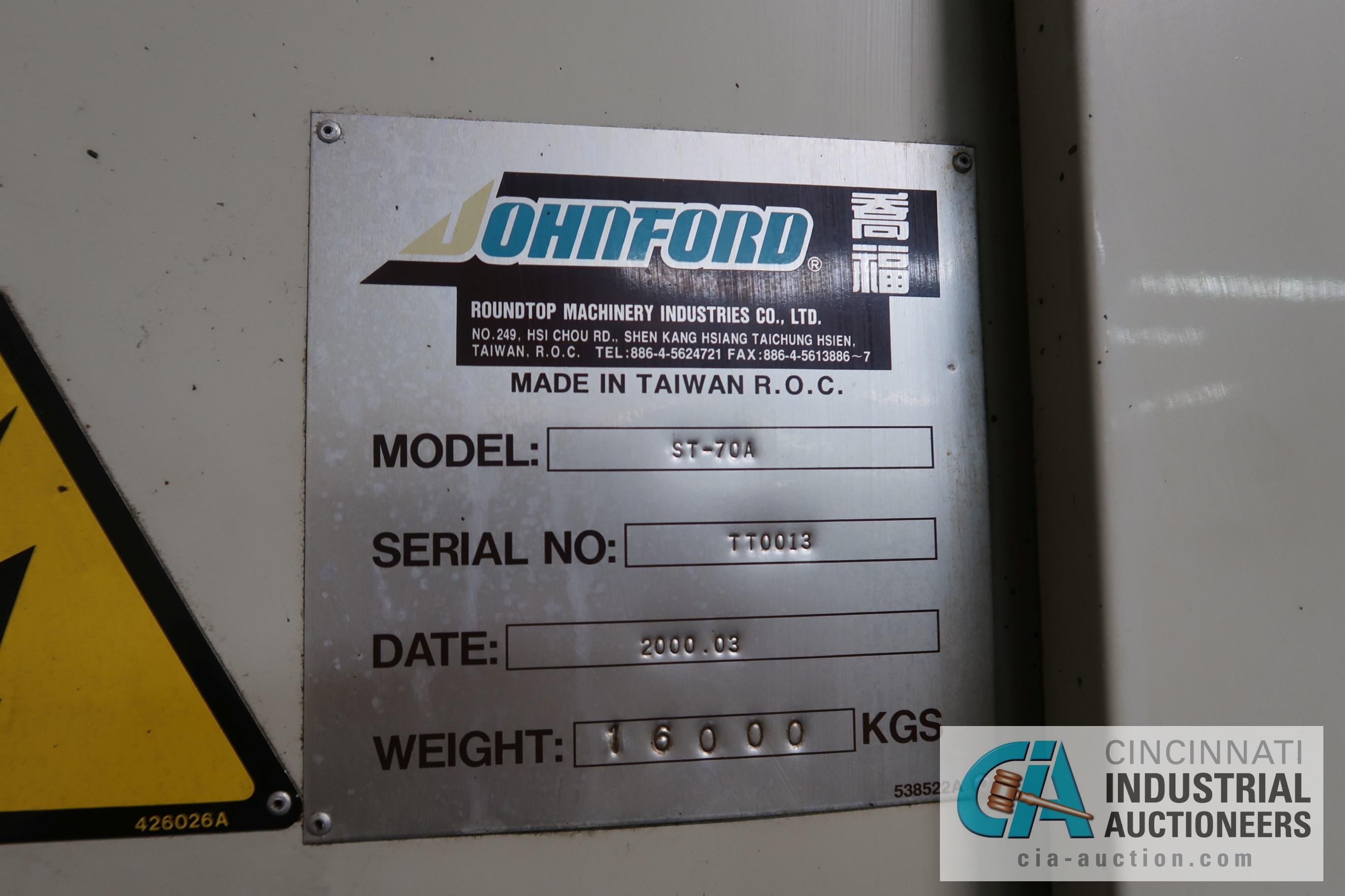 "JOHNFORD MODEL ST-70 SLANT BED CNC LATHE; S/N TT0013 (NEW 2000), 12"" CHUCK, 36"" SWING OVER BED, - Image 18 of 21"