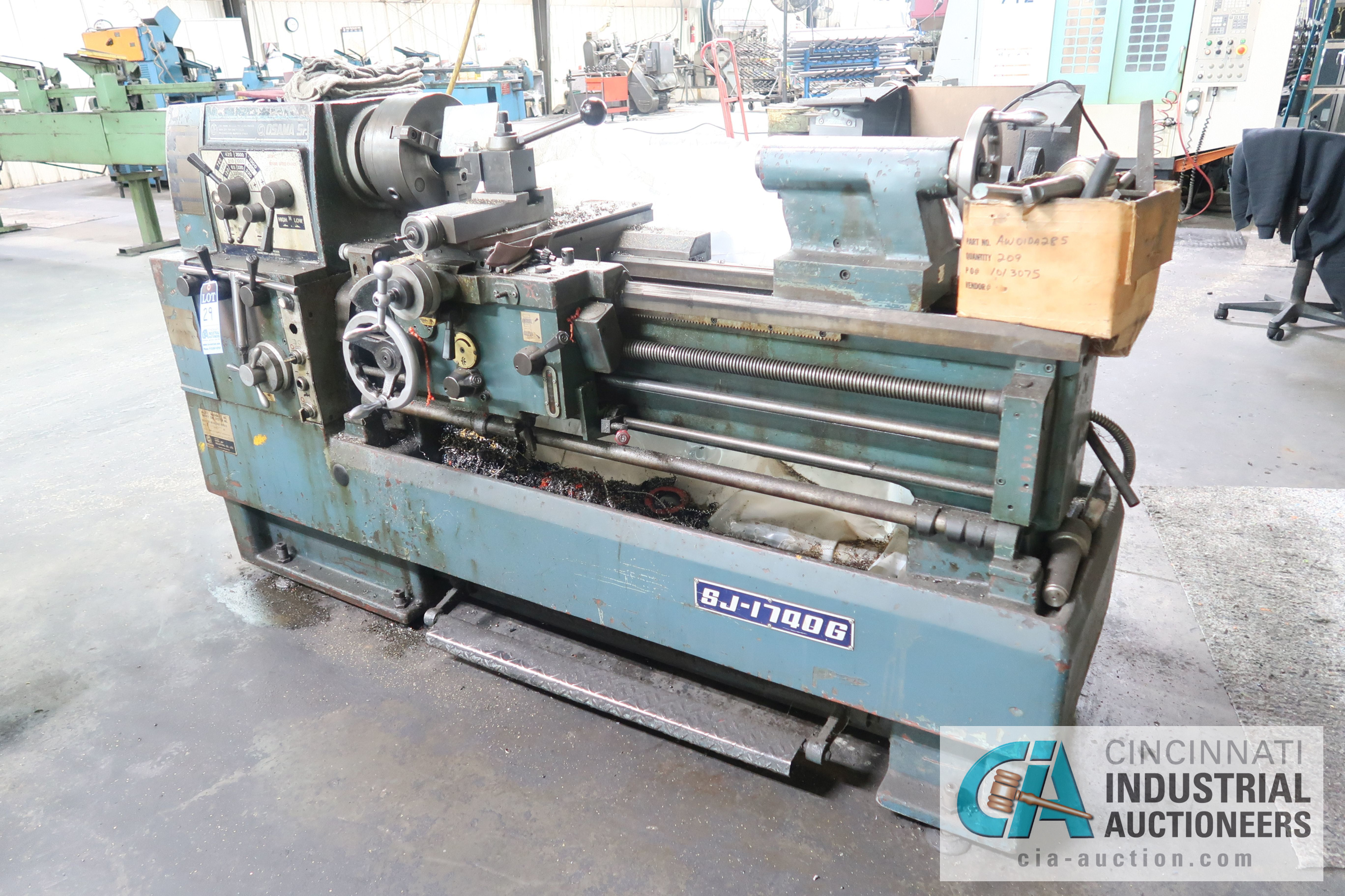 "20"" X 36"" APPROX. SHEN-JAY MODEL SJ-17400G GEARED HEAD ENGINE LATHE; S/N 570618, 2"" THRU HOLE, QUICK"