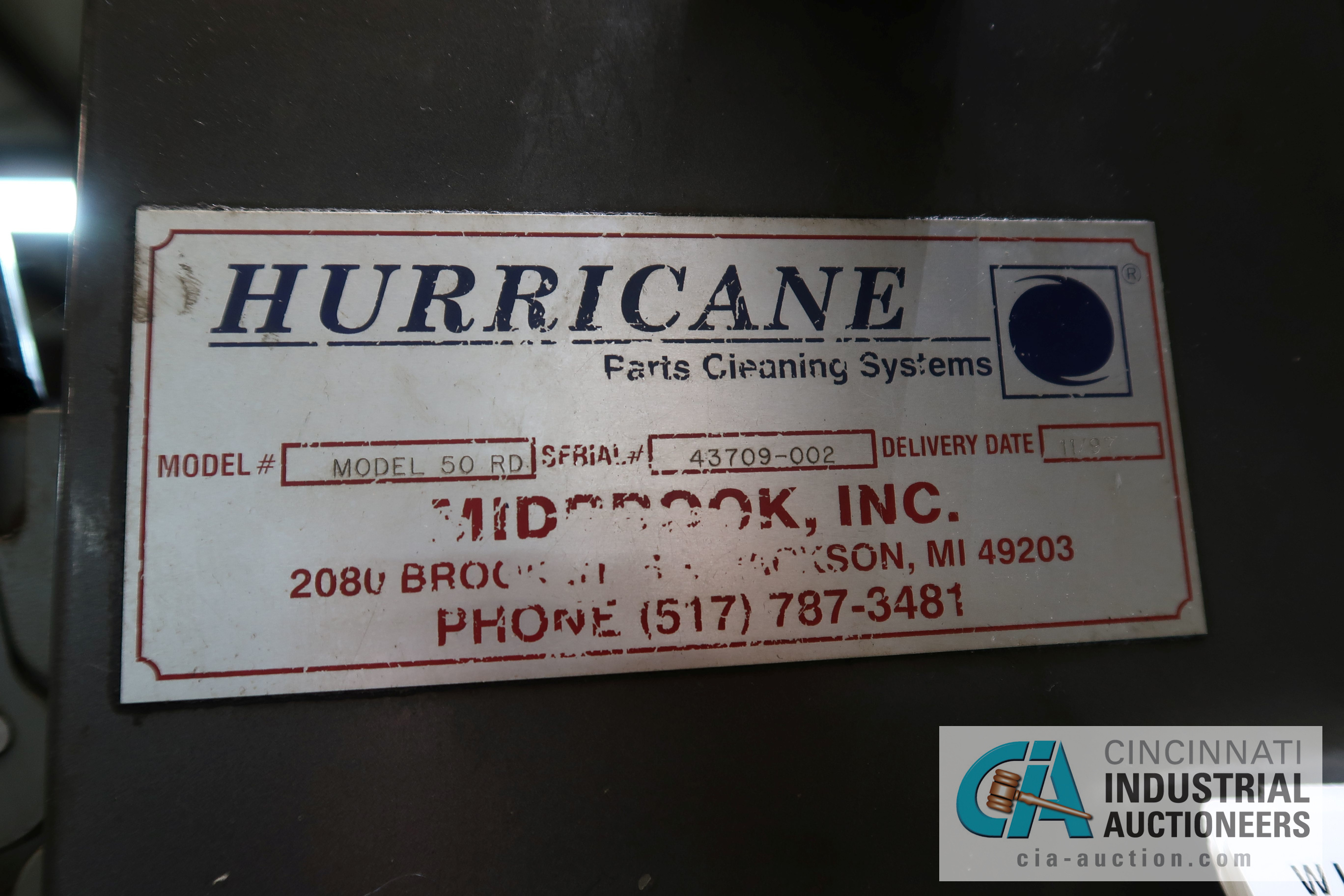 HURRICANE MODEL 50RD PARTS WASHER; S/N 43709-002 (NEW 1997), 8,736 HOURS SHOWING, 3-PHASE - Image 11 of 11