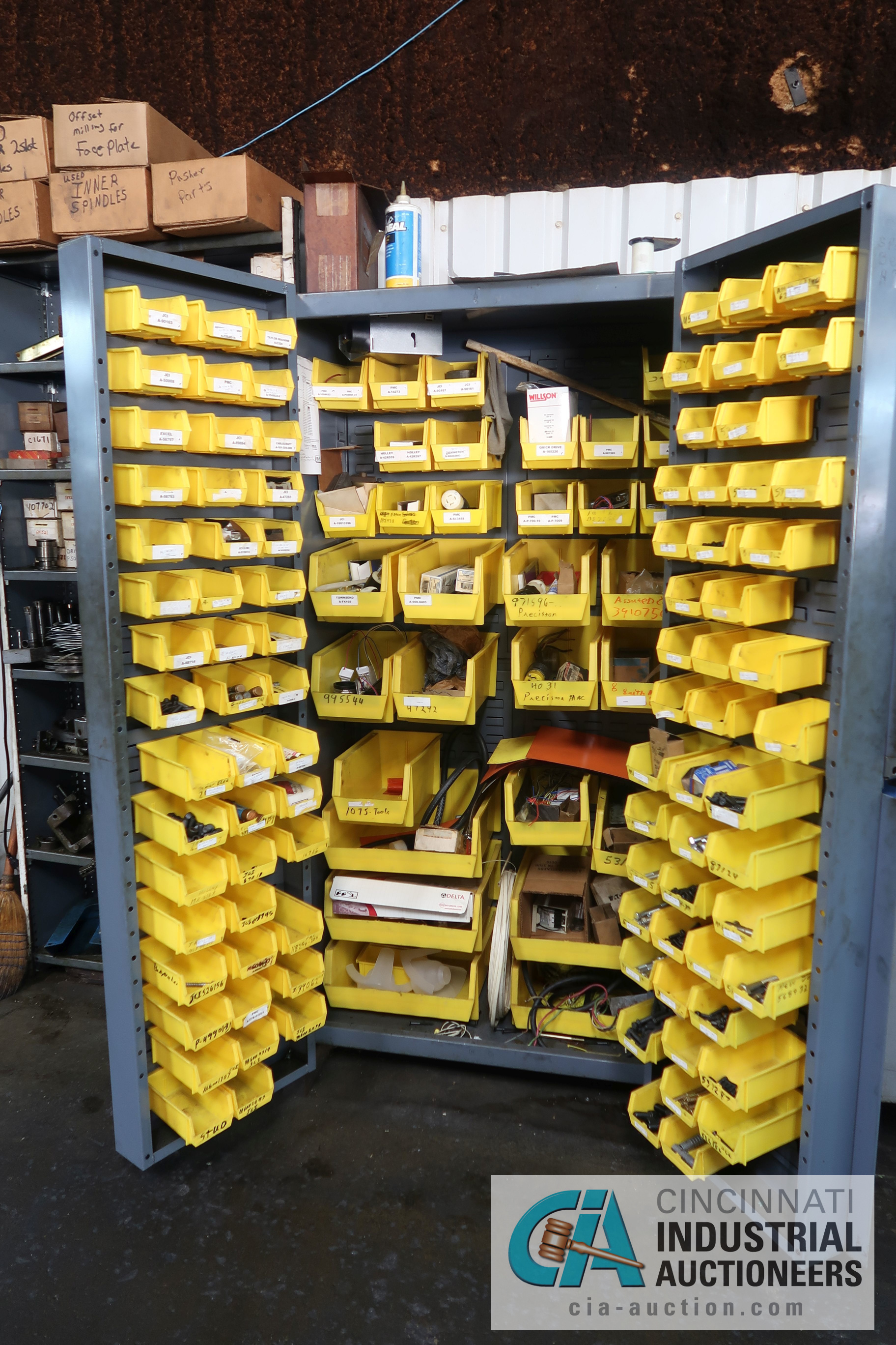 (LOT) MISCELLANEOUS ELECTRICAL AND HARDWARE WITH TWO-DOOR STRONGHOLD STYLE BIN CABINET - Image 2 of 5