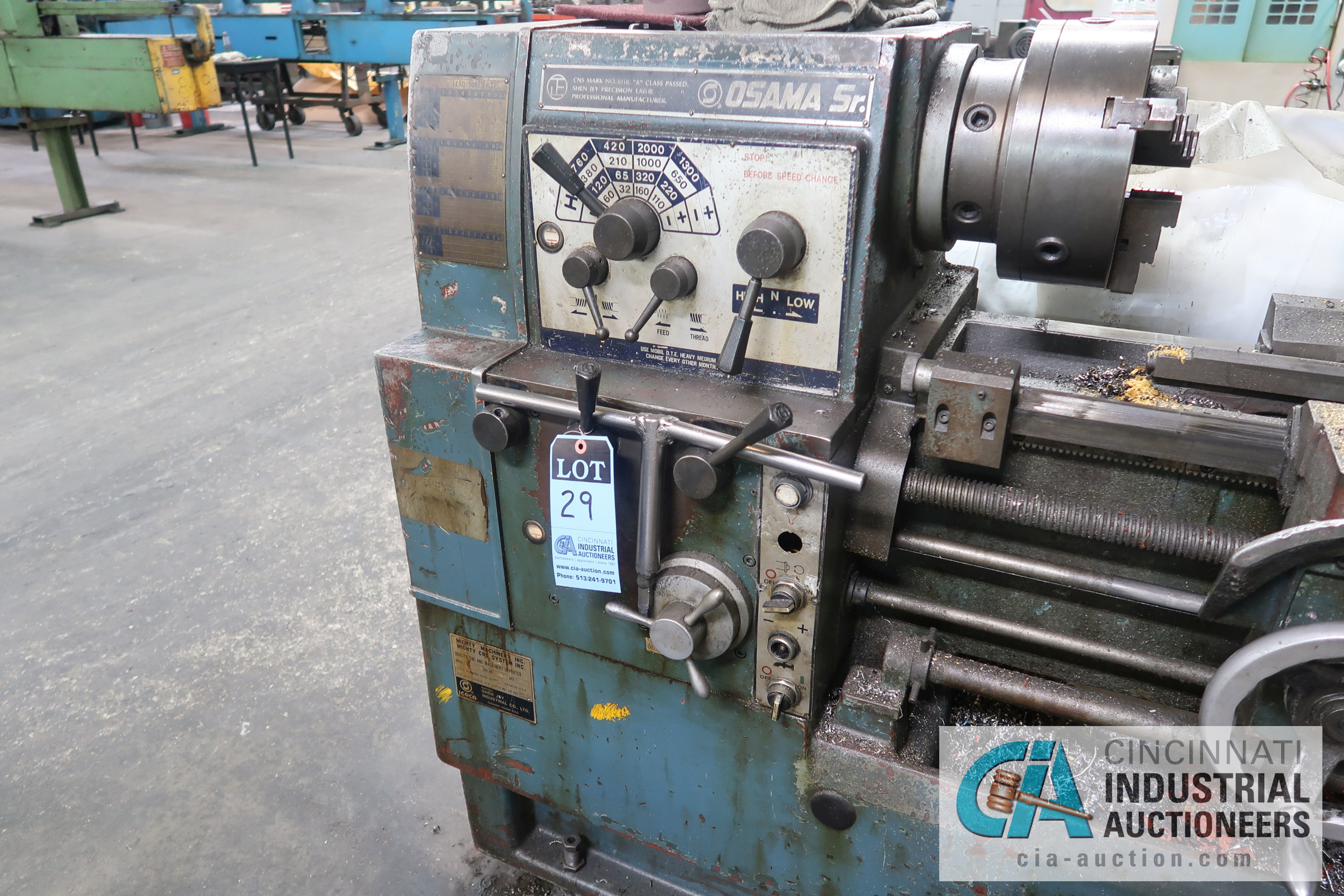 "20"" X 36"" APPROX. SHEN-JAY MODEL SJ-17400G GEARED HEAD ENGINE LATHE; S/N 570618, 2"" THRU HOLE, QUICK - Image 4 of 5"