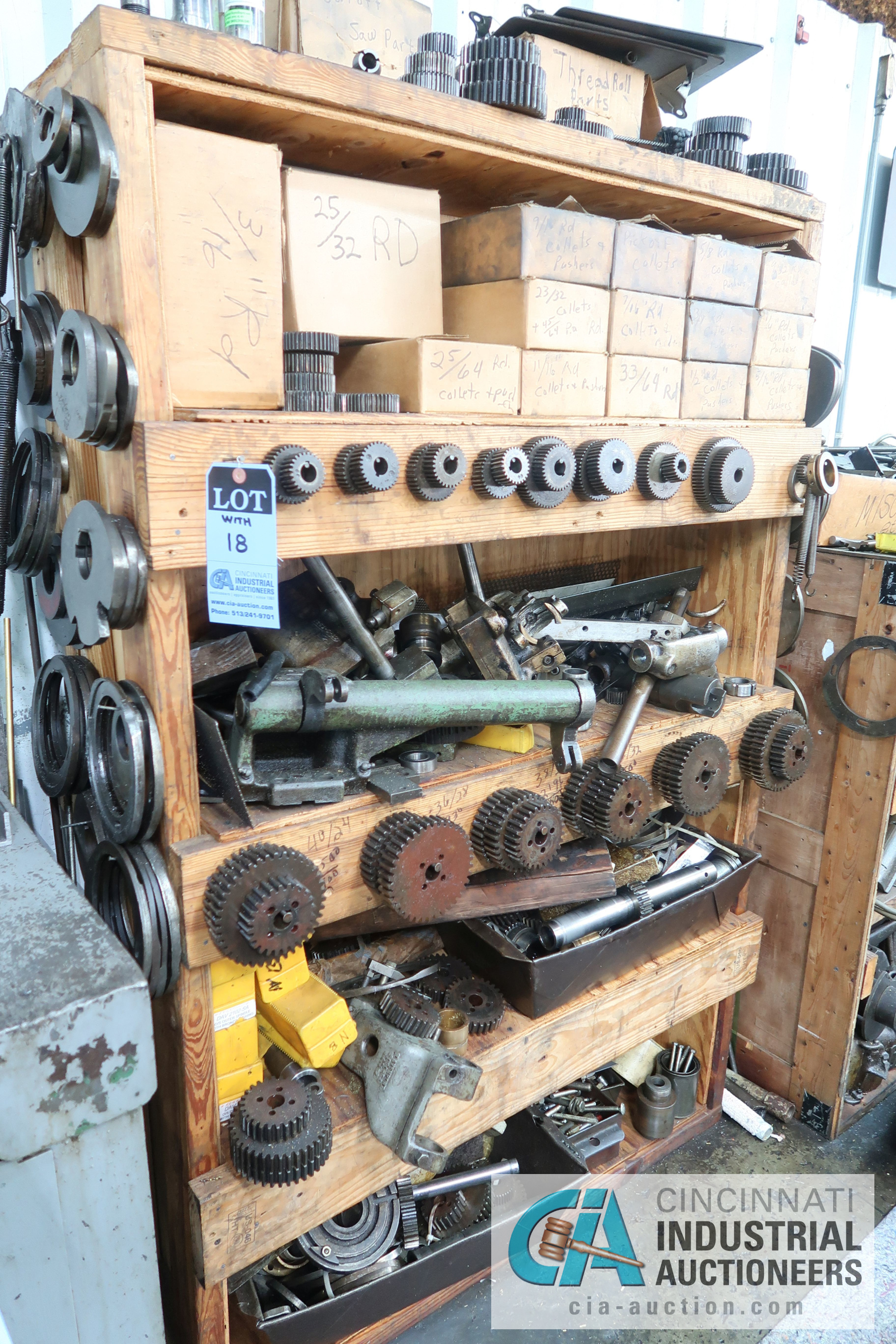 Lot 18 - (LOT) LARGE ASSORTMENT MISCELLANEOUS DAVENPORT TOOLING, ATTACHMENTS, GEARS, CAMS AND OTHER RELATED