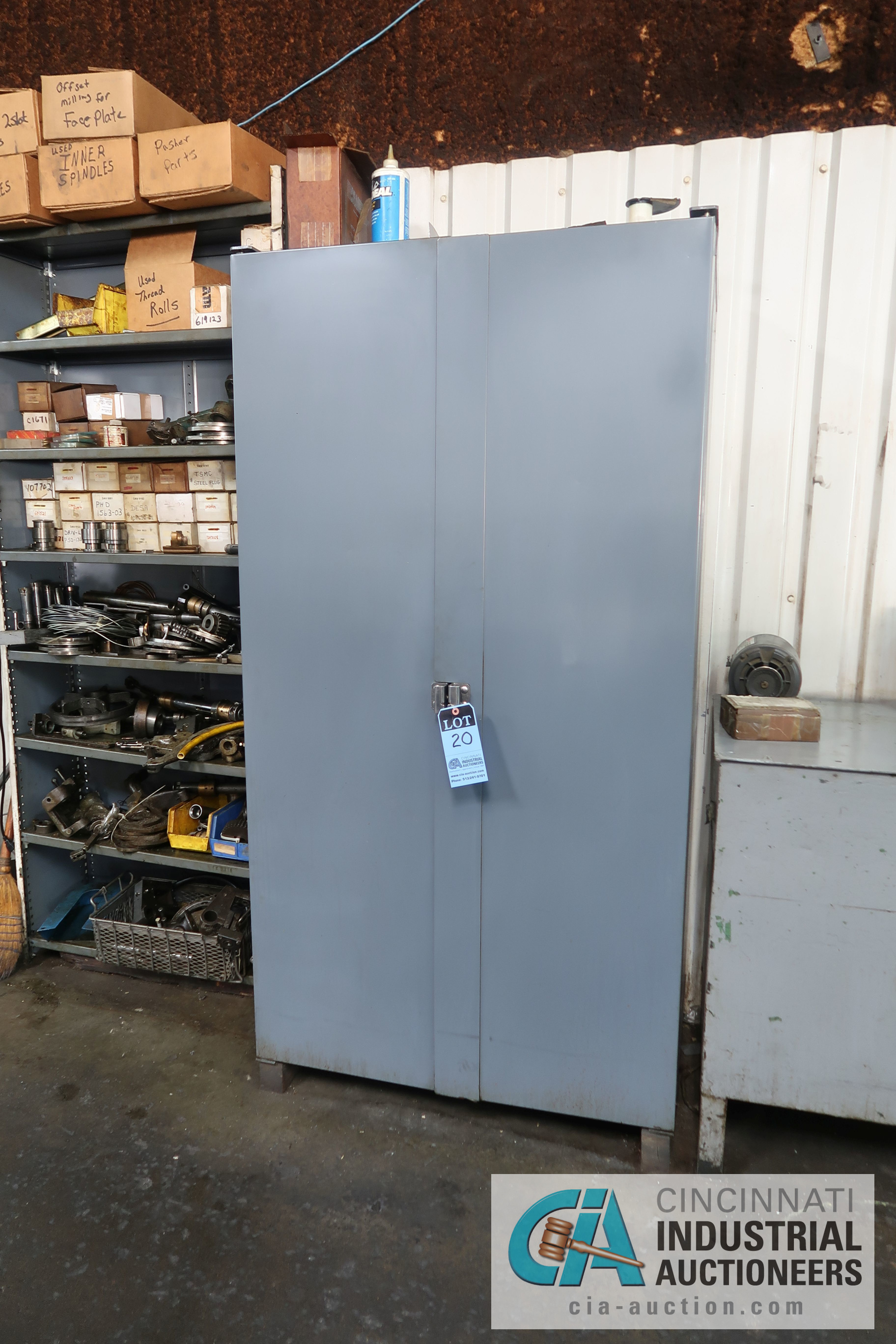 (LOT) MISCELLANEOUS ELECTRICAL AND HARDWARE WITH TWO-DOOR STRONGHOLD STYLE BIN CABINET