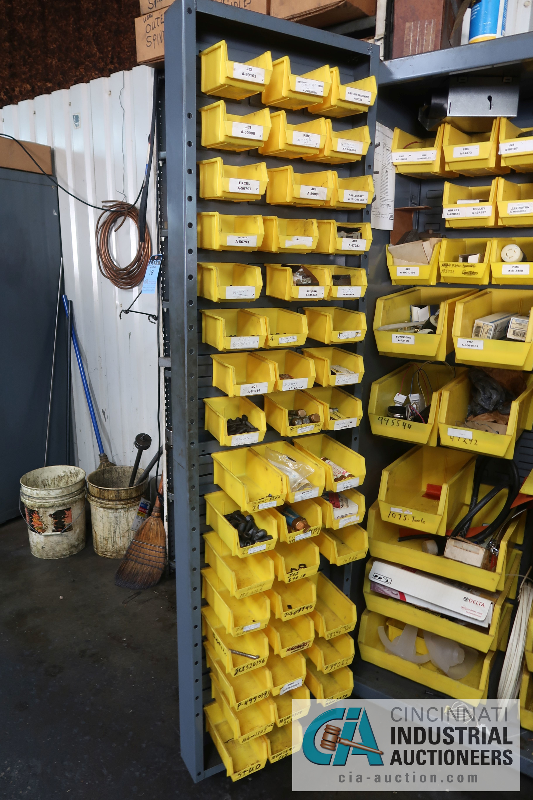 (LOT) MISCELLANEOUS ELECTRICAL AND HARDWARE WITH TWO-DOOR STRONGHOLD STYLE BIN CABINET - Image 5 of 5