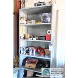 (LOT) MISCELLANEOUS SHOP SUPPLIES WITH SHELVING AND STORAGE CABINET