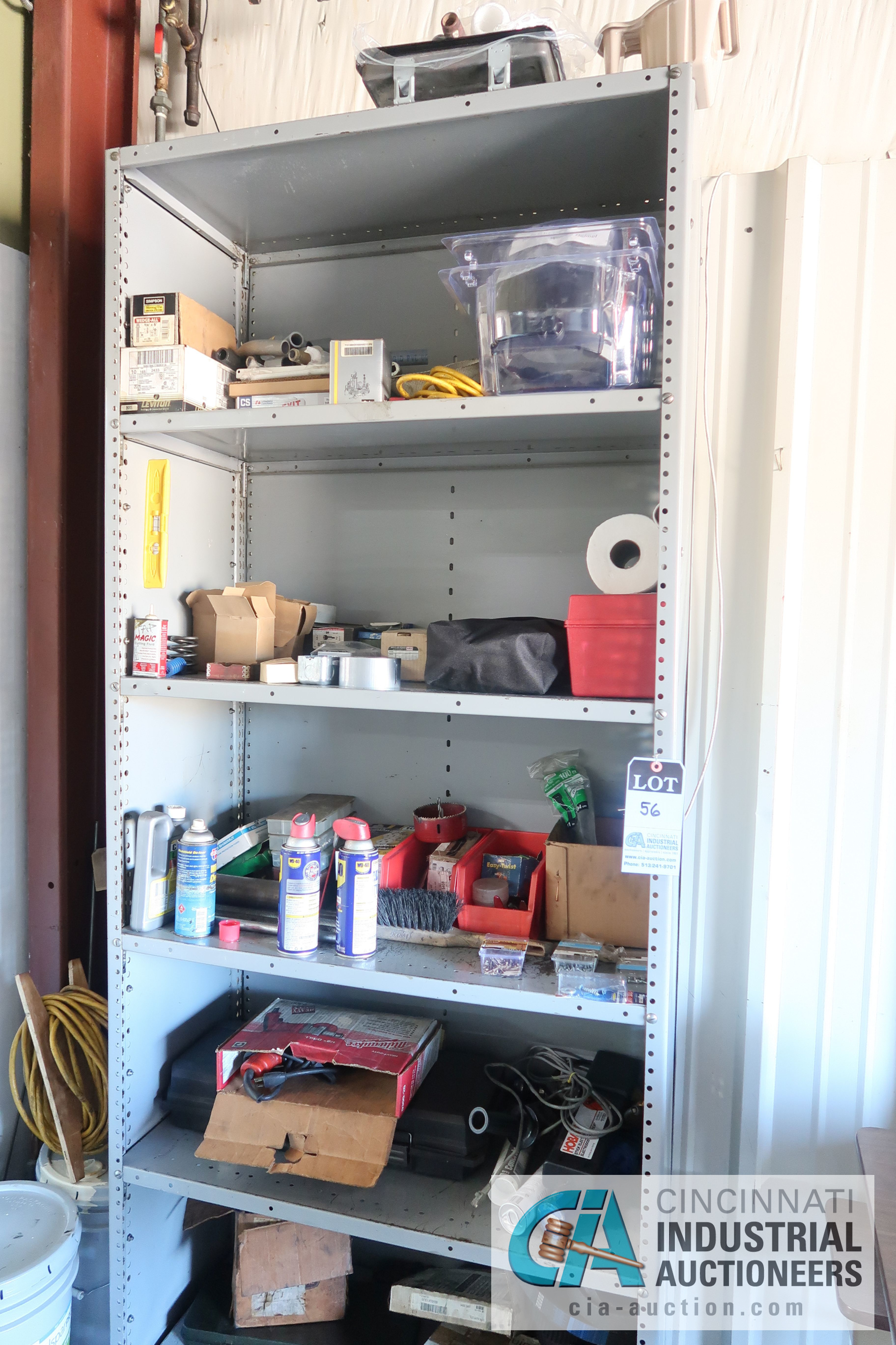 Lot 56 - (LOT) MISCELLANEOUS SHOP SUPPLIES WITH SHELVING AND STORAGE CABINET