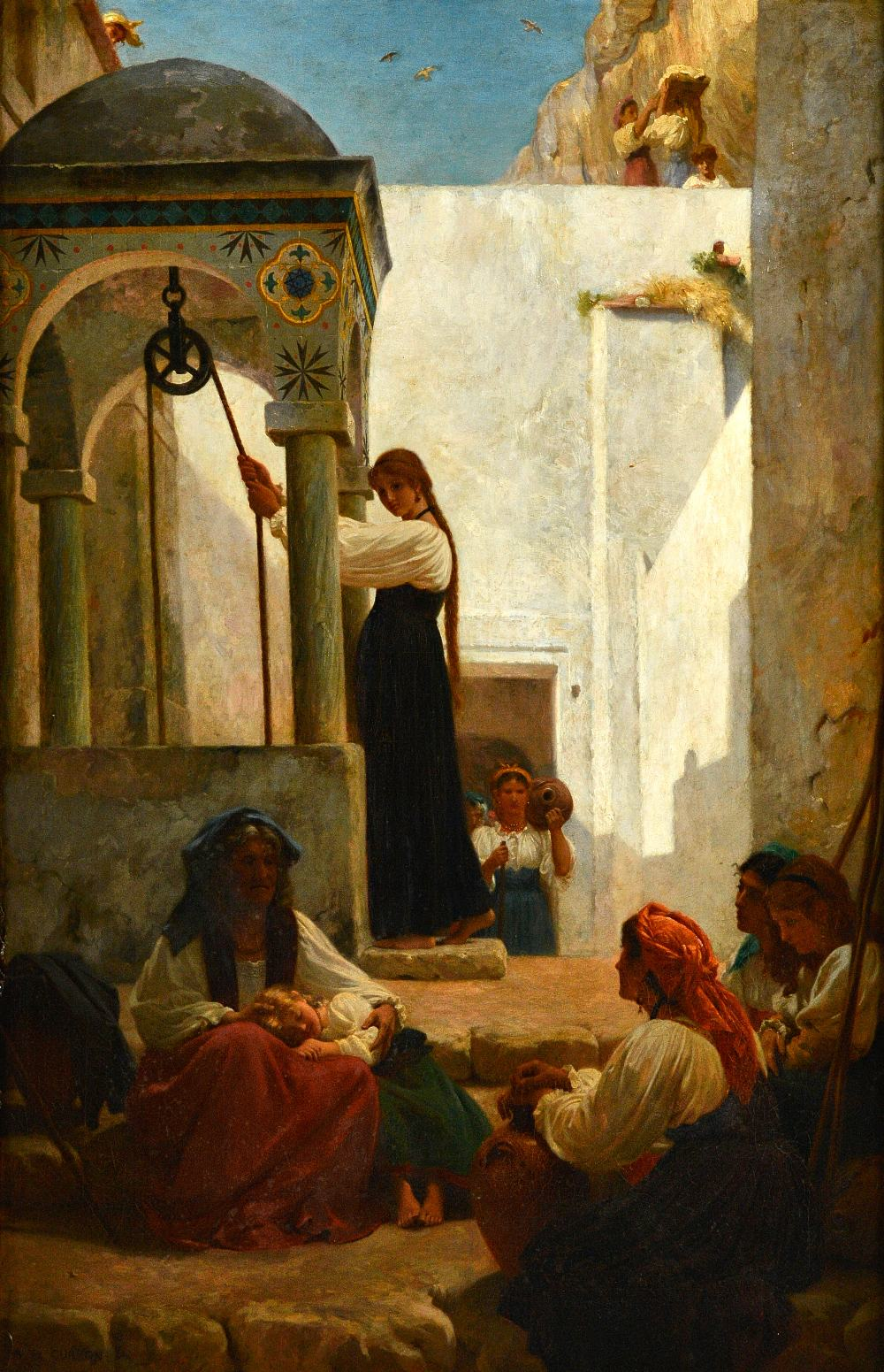 Lot 1049 - Paul Alfred de Curzon (1820-1895), Women at the well: Autour d'un Puits a Amalfi, oil on canvas,