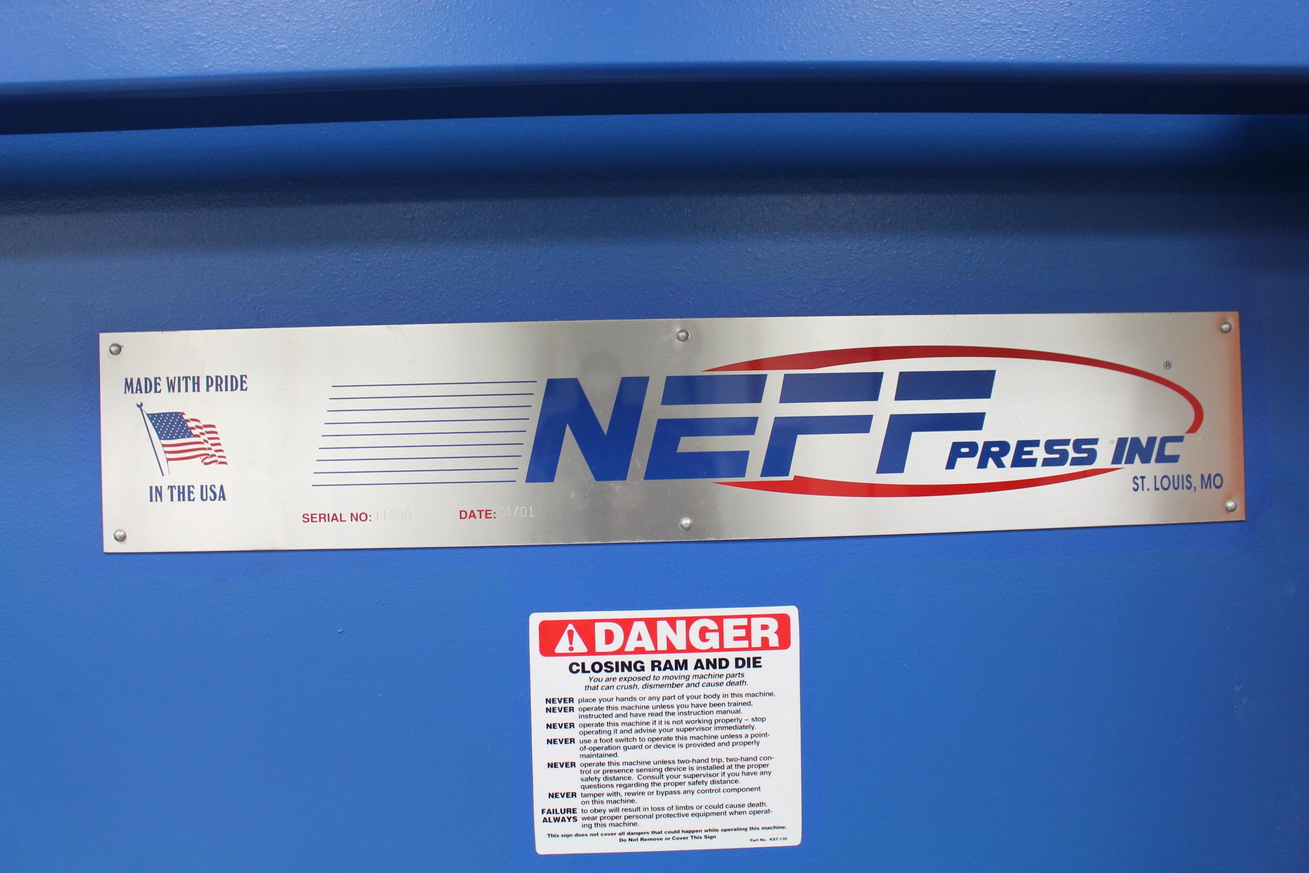 Lot 3 - 2008 NEFF PRESS 230 TON STRAIGHT SIDE STAMPING PRESS, MODEL NN200-50M, HAND SCRAPPED BOLSTER PLATE