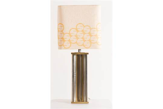 Lampada da tavolo in ottone dorato laterali in marmo firmata