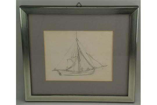 Segelschiff bleistiftzeichnung  Fresenius,Richard (1844 Frankfurt - 1903) - Segelschiff-Studie ...