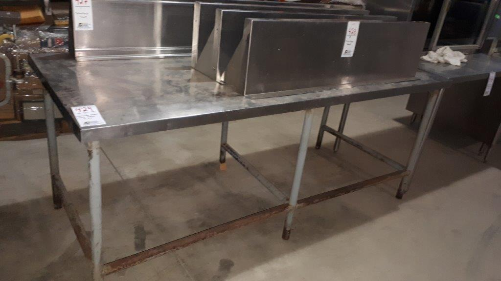 Lot 429 - Stainless steel work table 7'x3'