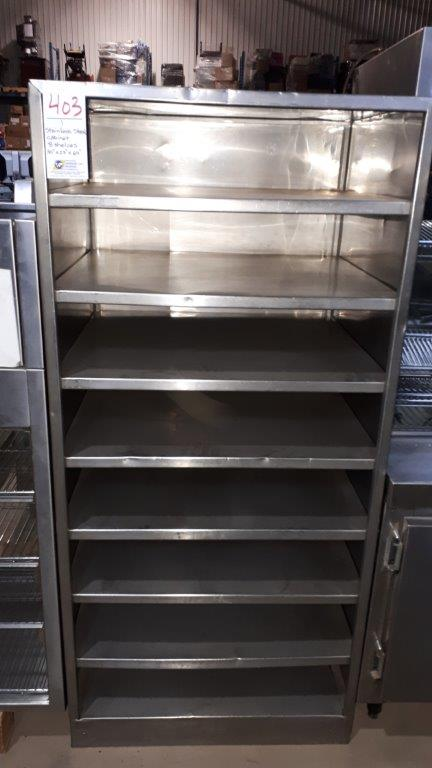 """Stainless steel cabinet, 8 shelves, 30""""x27""""x64"""""""