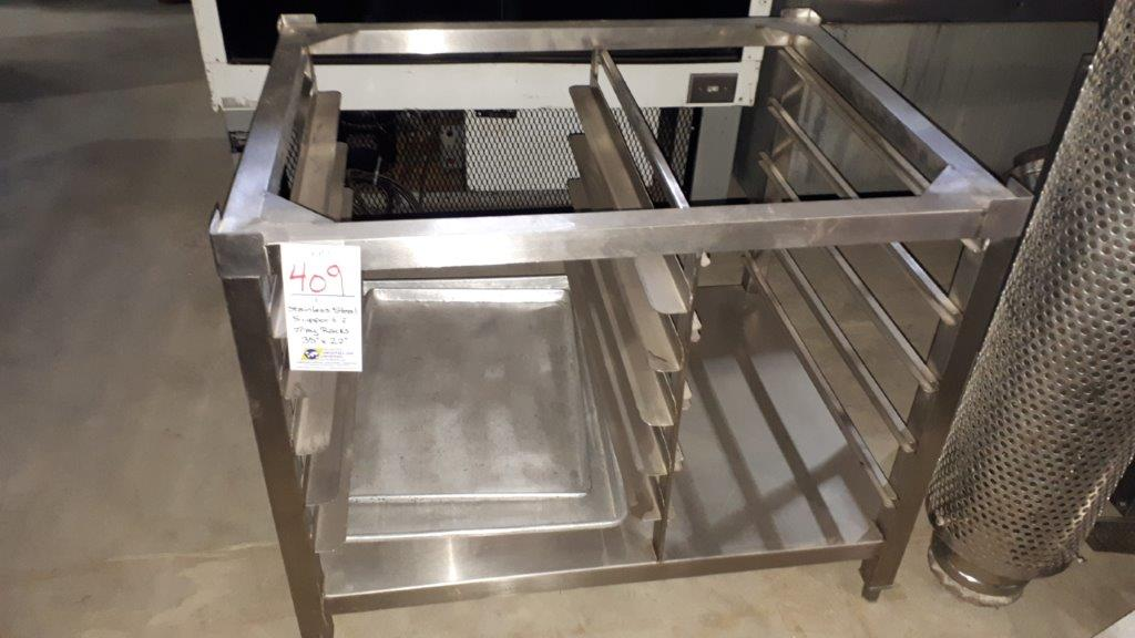 """Lot 409 - Stainless steel support & tray racks, 35""""x27"""""""