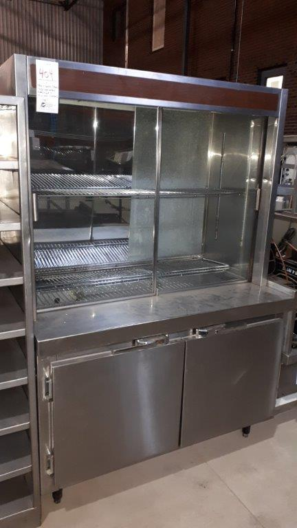 Lot 404 - Stainless steel refrigerated cabinet & compressor w/2 glass doors, 48""