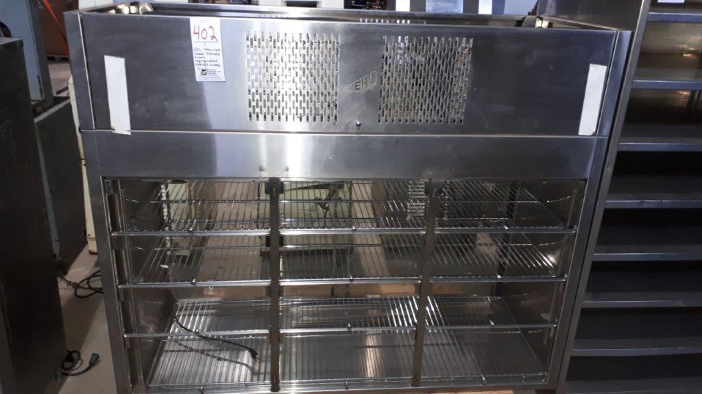 Lot 402 - ERL stainless steel double sided refrigerated cabinet & compressor, 5'x7'