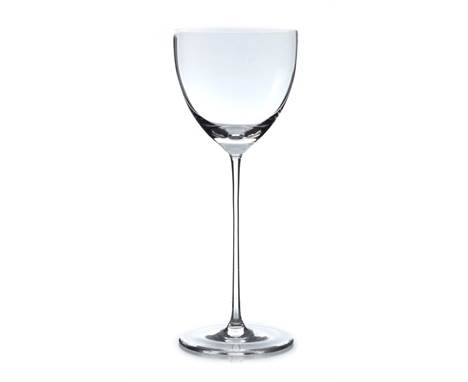 Josef Hoffmann for J J Lobmeyr, a pair of Secessionist wine glasses, designed circa 1917, the parabolic bowls on slender pull