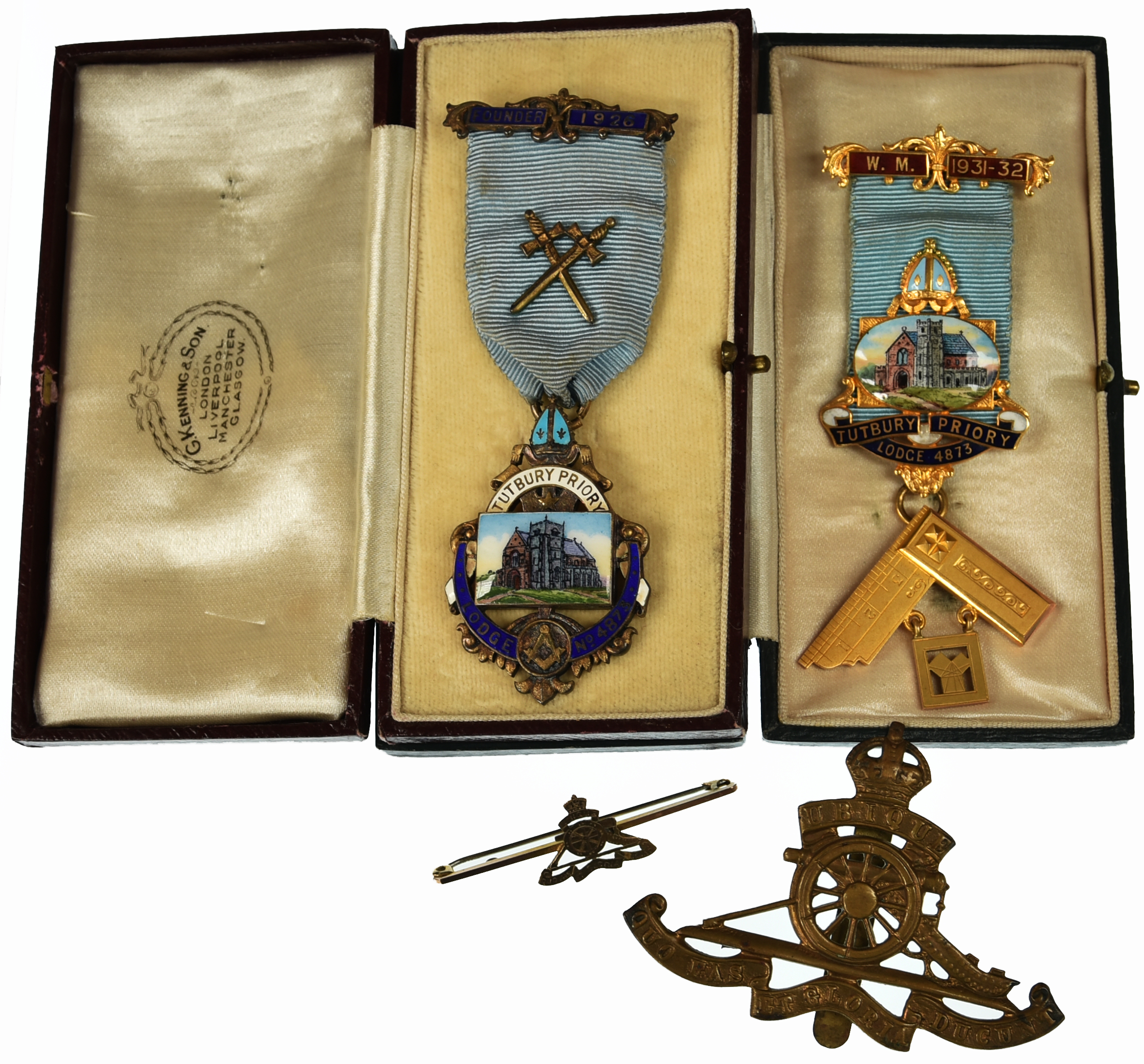 Pair of cased Masonic medals for Tutbury Priory Lodge, gilt with