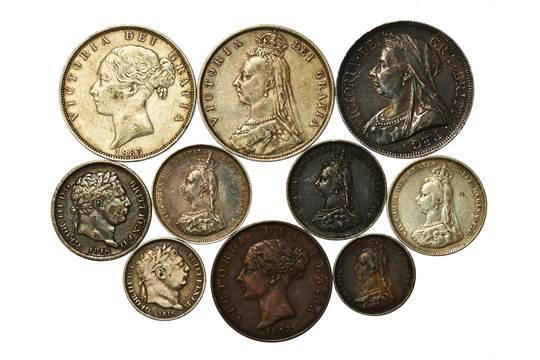 Halfcrown 1883, 1887, 1893, Shillings 1816, 1887 x 2, 1888, Sixpence