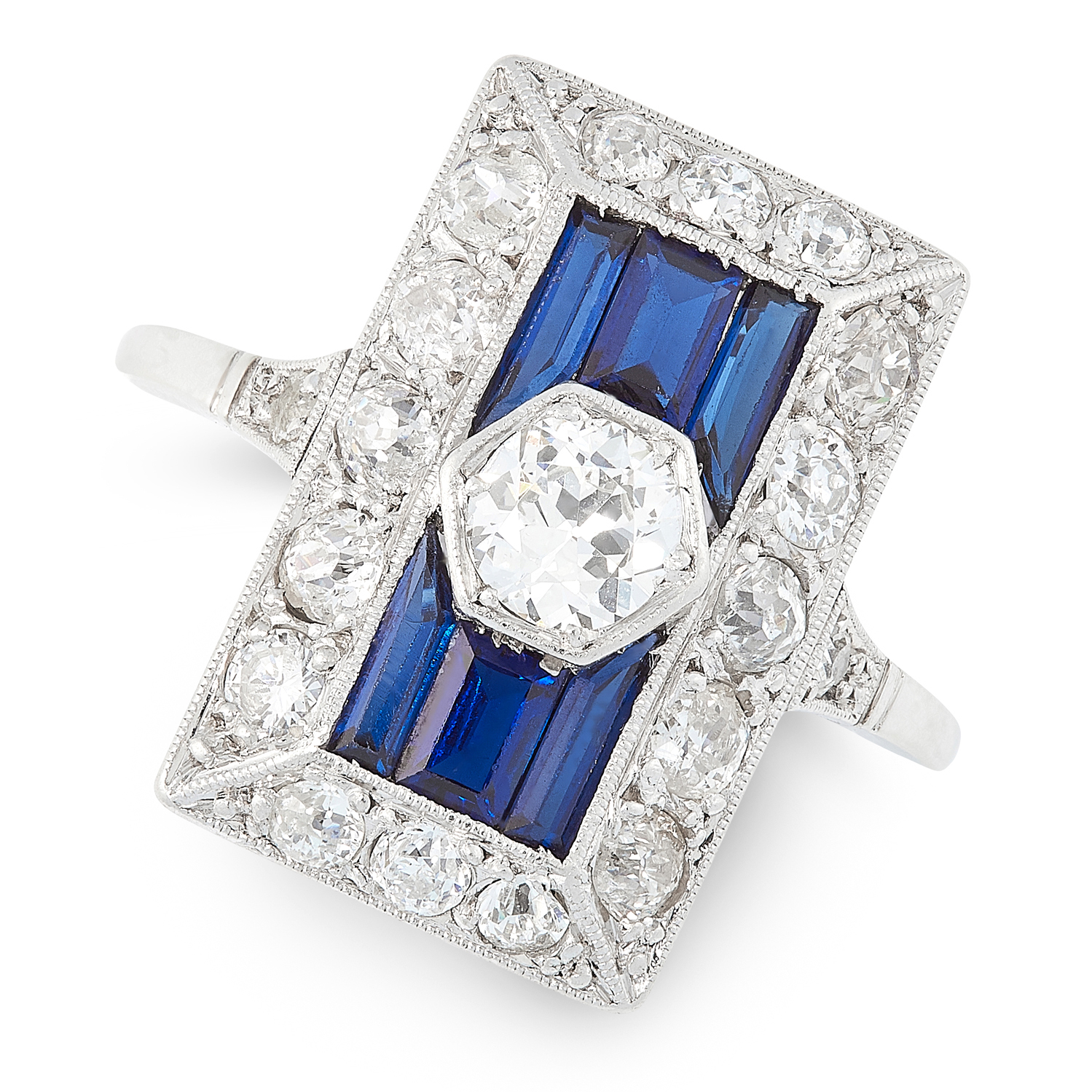 AN ART DECO DIAMOND AND SAPPHIRE RING, EARLY 20TH CENTURY set with an old cut diamond of 0.45 carats