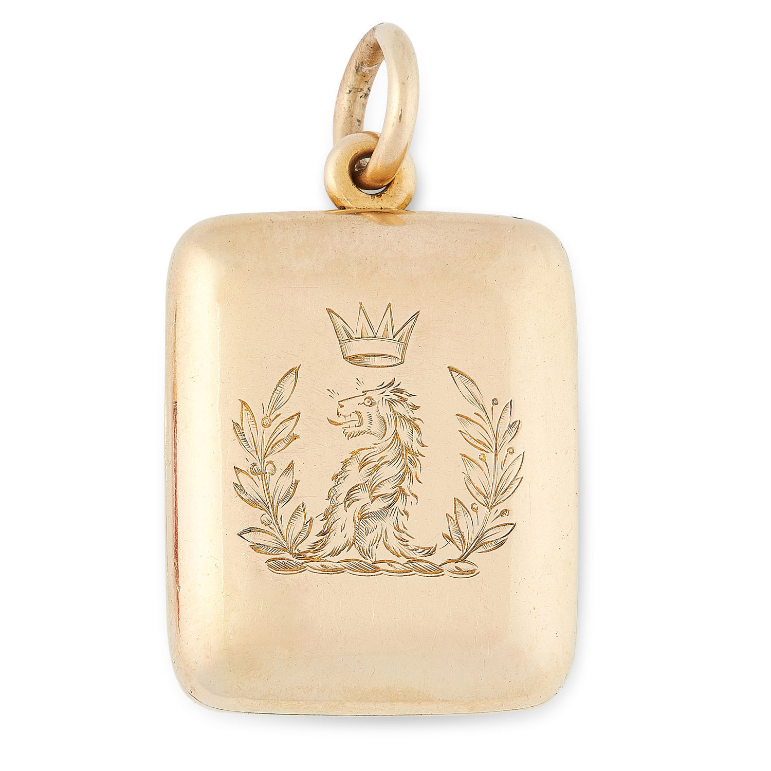 AN ANTIQUE FAMILY LOCKET PENDANT in yellow gold, the rounded rectangular body engraved to the