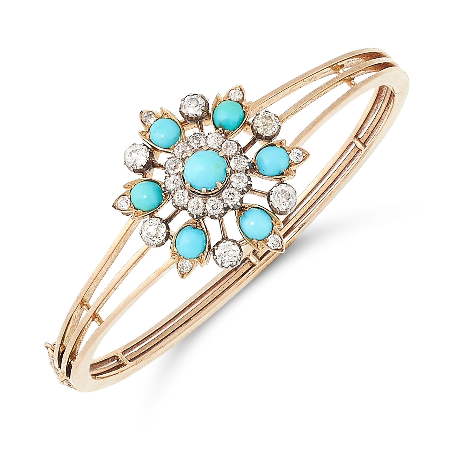 AN ANTIQUE TURQUOISE AND DIAMOND BANGLE / PENDANT / BROOCH in high carat yellow gold, designed as