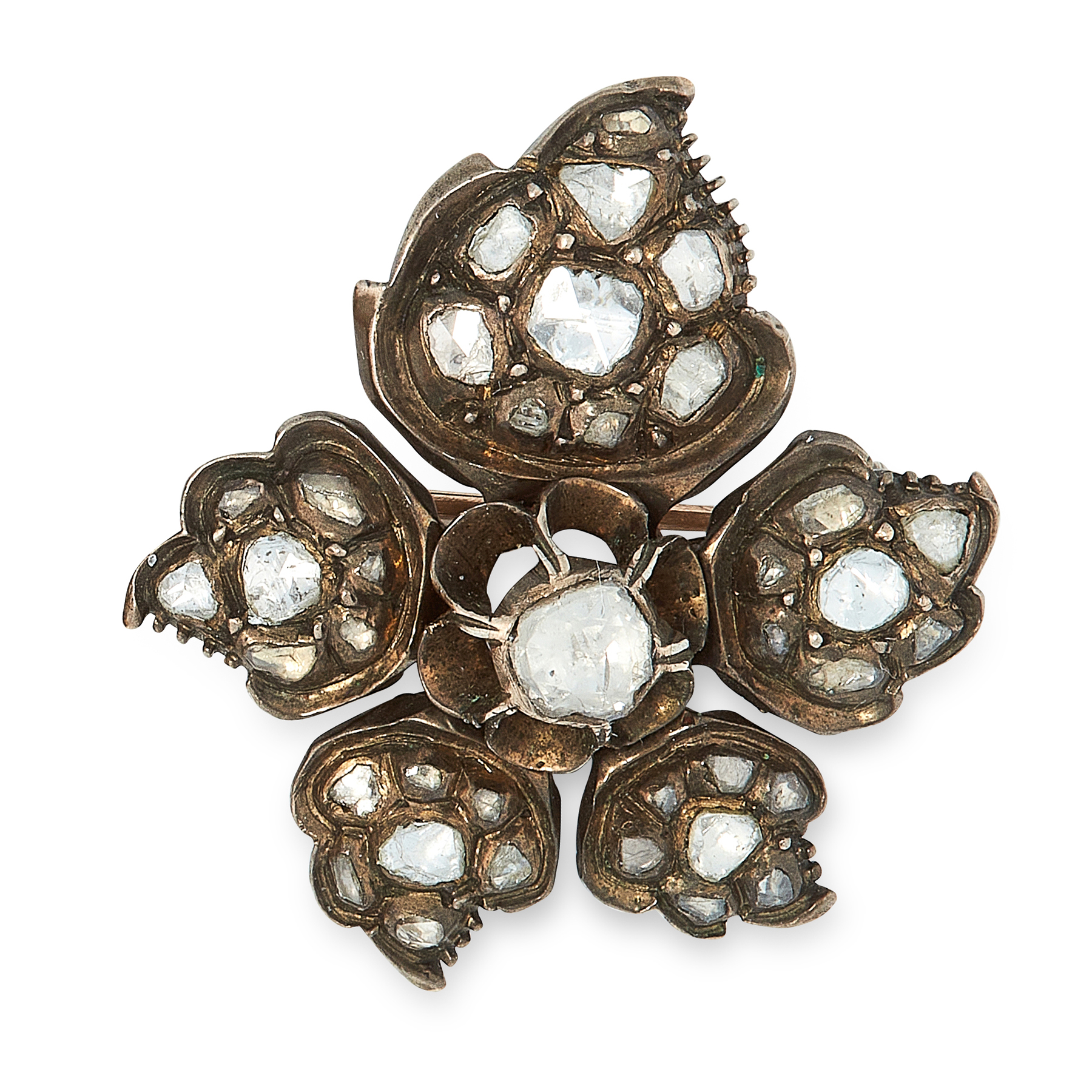 AN ANTIQUE GEORGIAN DIAMOND BROOCH, EARLY 19TH CENTURY in yellow gold and silver, designed as a