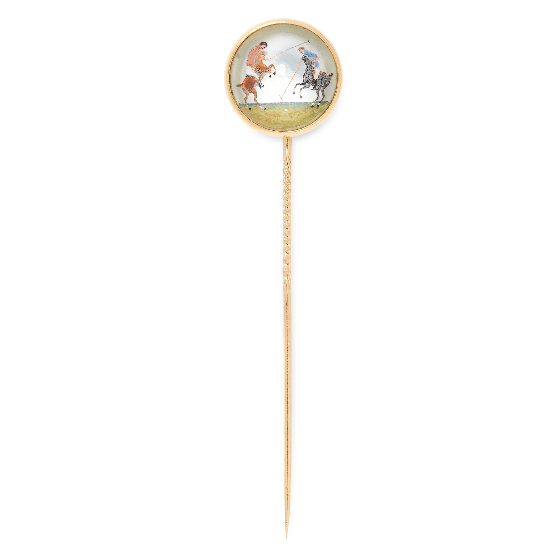 AN ANTIQUE ESSEX CRYSTAL POLO TIE PIN in yellow gold, set with a circular reverse carved intaglio,