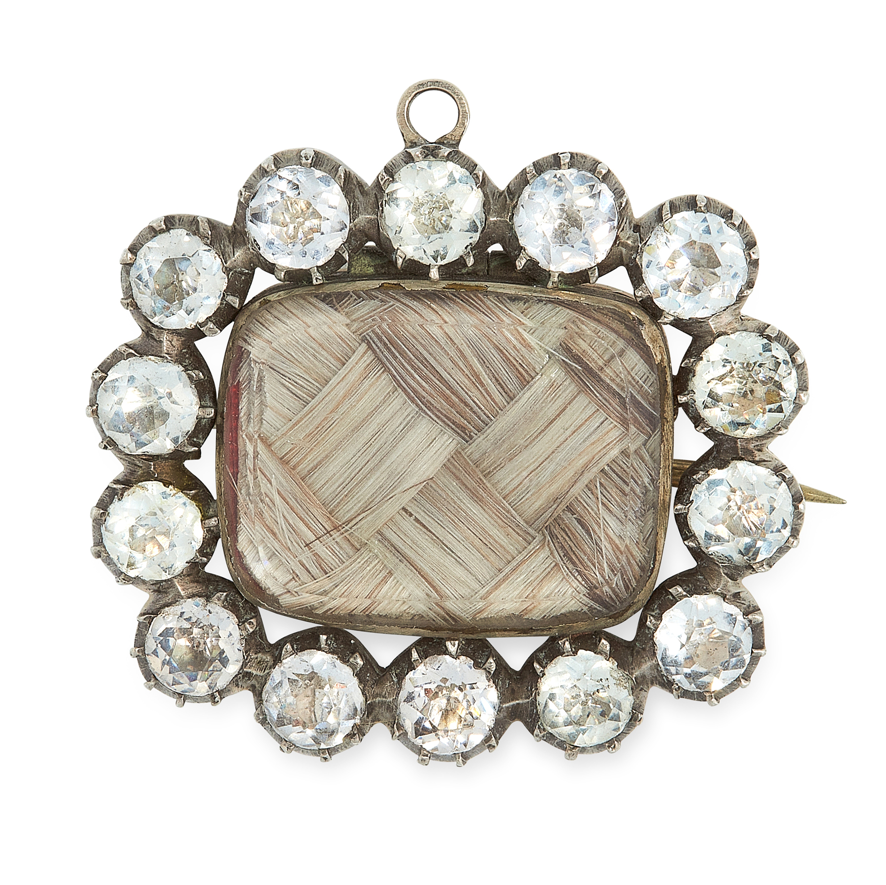 AN ANTIQUE PASTE AND HAIRWORK MOURNING BROOCH, 19TH CENTURY in silver, set with a central panel of