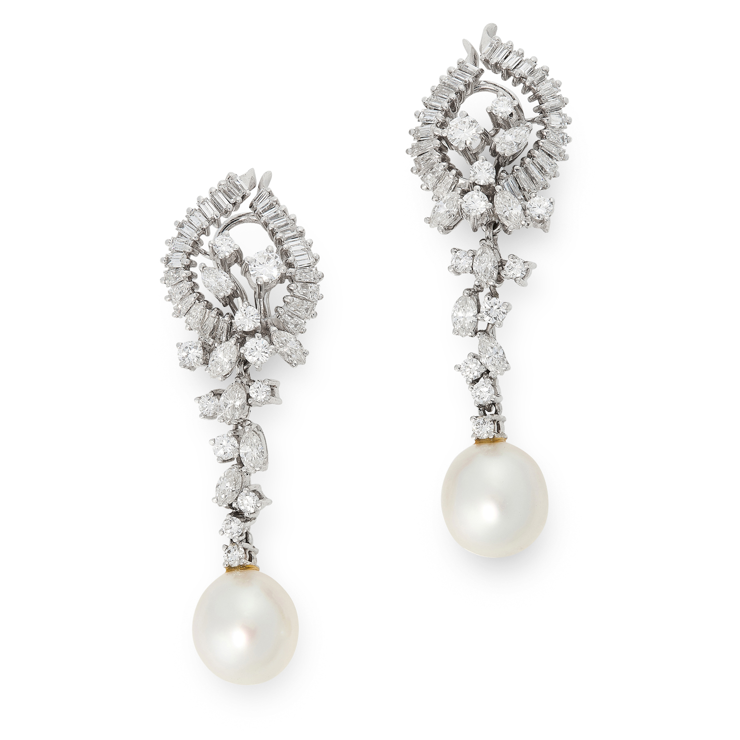 A PAIR OF PEARL AND DIAMOND EARRINGS in 18ct white gold, the articulated body of each designed as