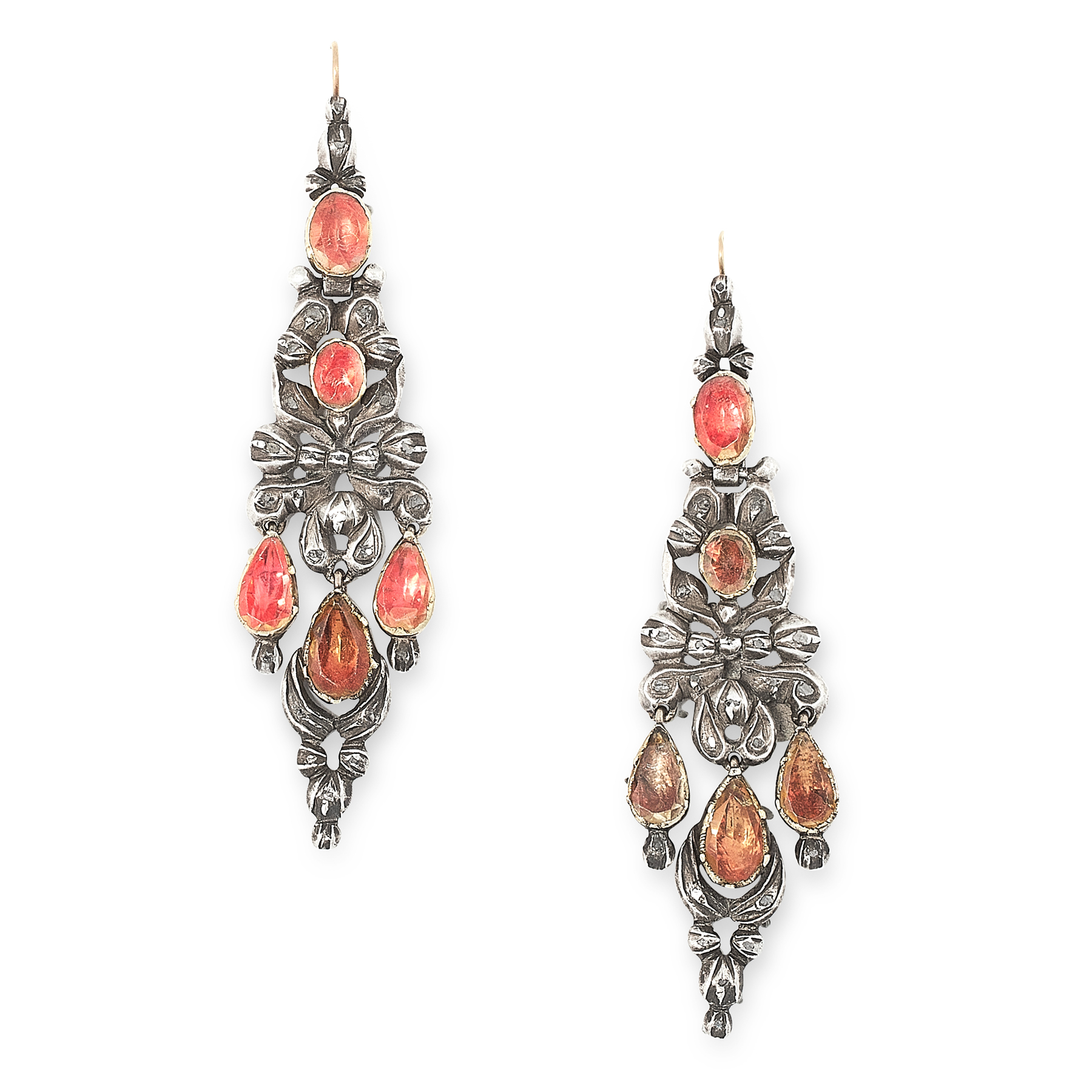 A PAIR OF ANTIQUE TOPAZ AND DIAMOND EARRINGS, SPANISH LATE 18TH CENTURY in silver, the articulated