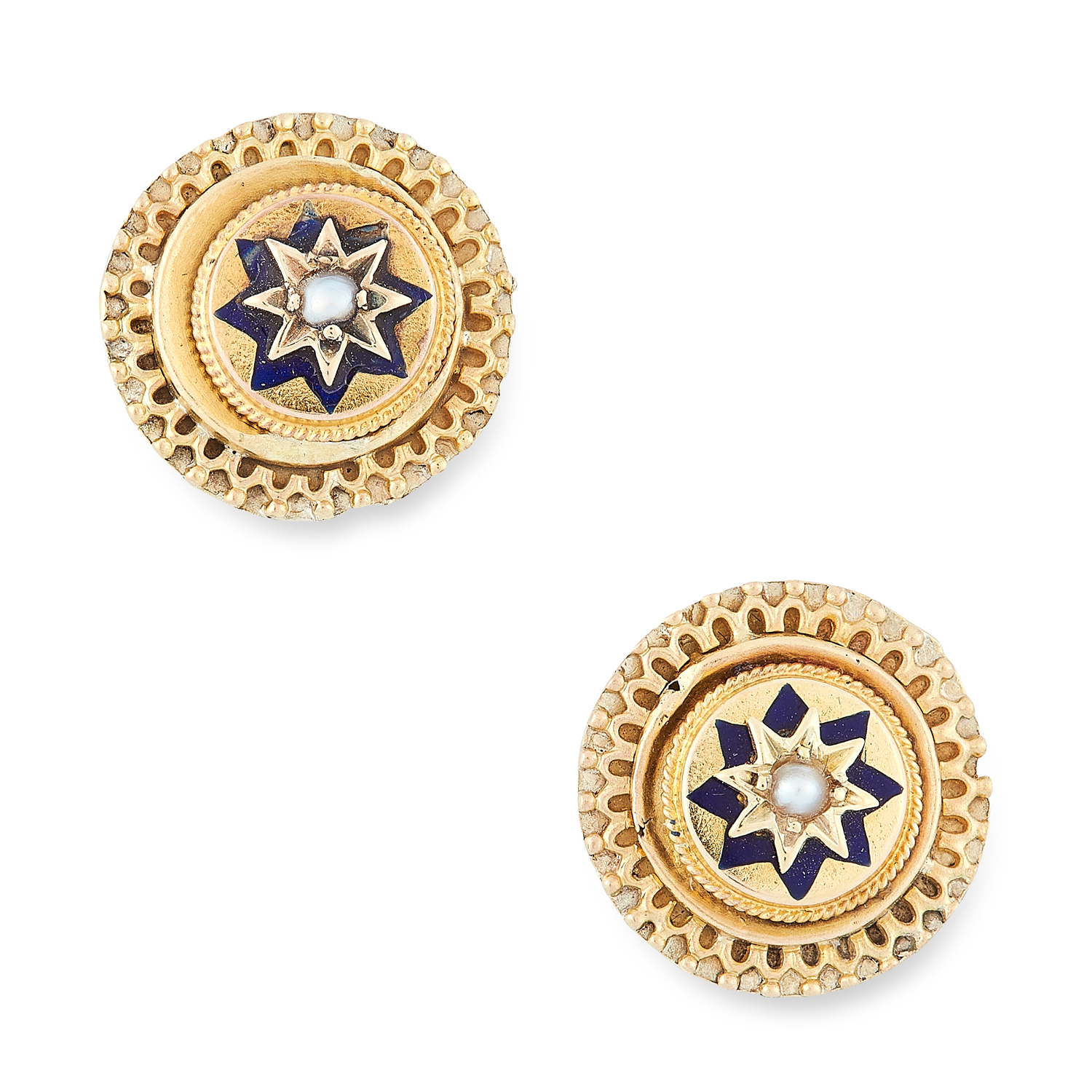 A PAIR OF ANTIQUE PEARL AND ENAMEL STUD EARRINGS, 19TH CENTURY in yellow gold, each set with a pearl