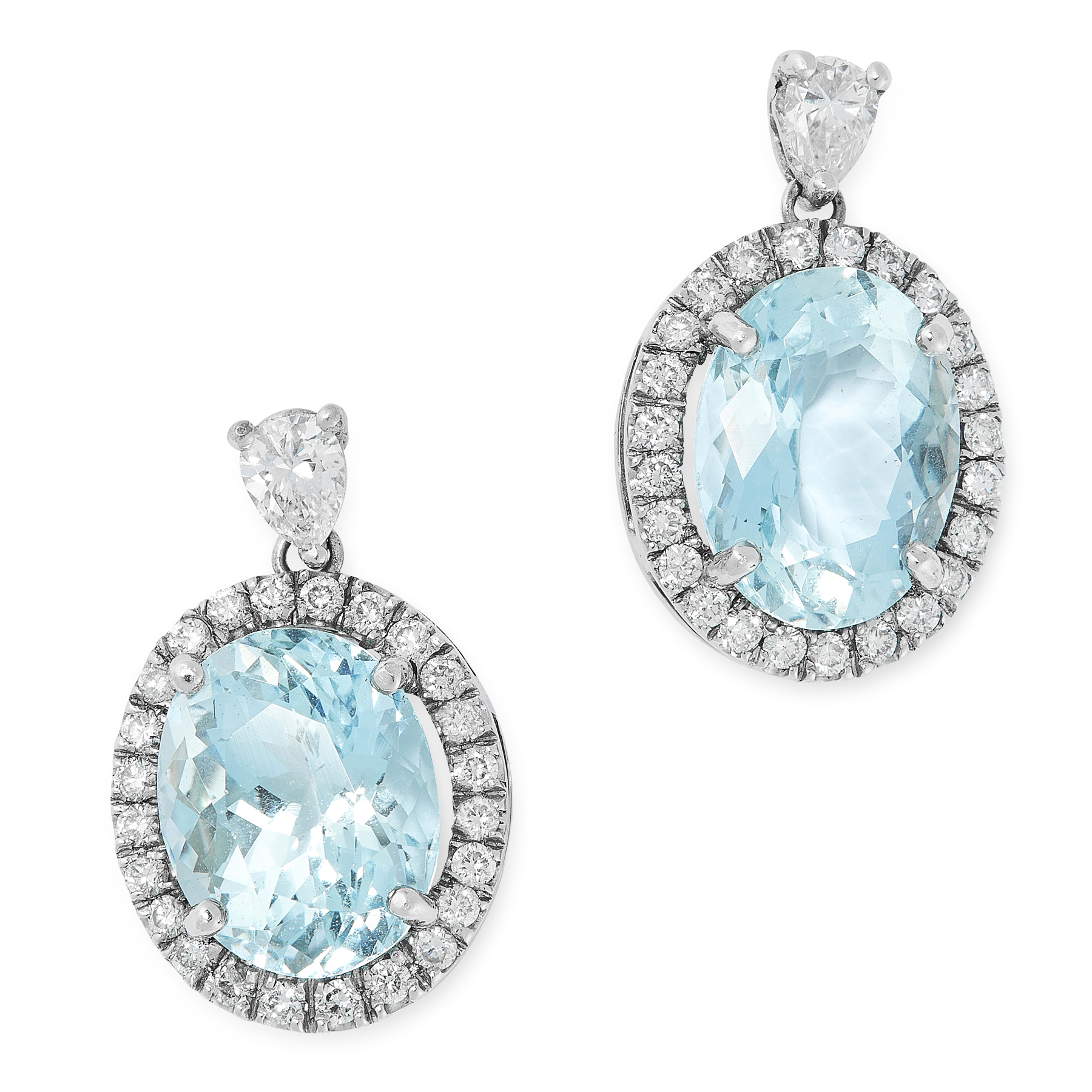 A PAIR OF AQUAMARINE AND DIAMOND EARRINGS in white gold, each set with an oval cut aquamarine of 4.