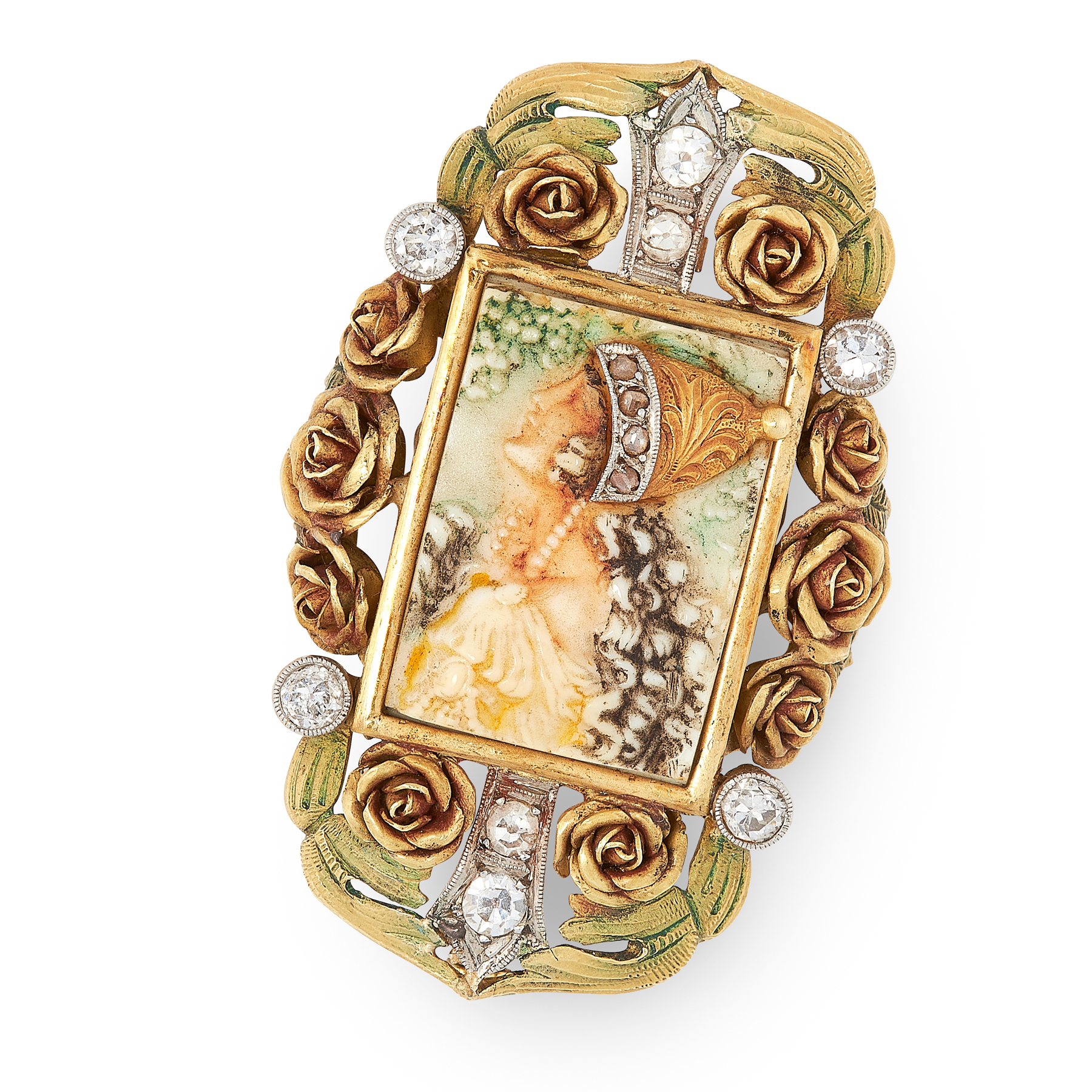 AN ART NOUVEAU ENAMEL AND DIAMOND CAMEO BROOCH, EARLY 20TH CENTURY in yellow gold, set with a