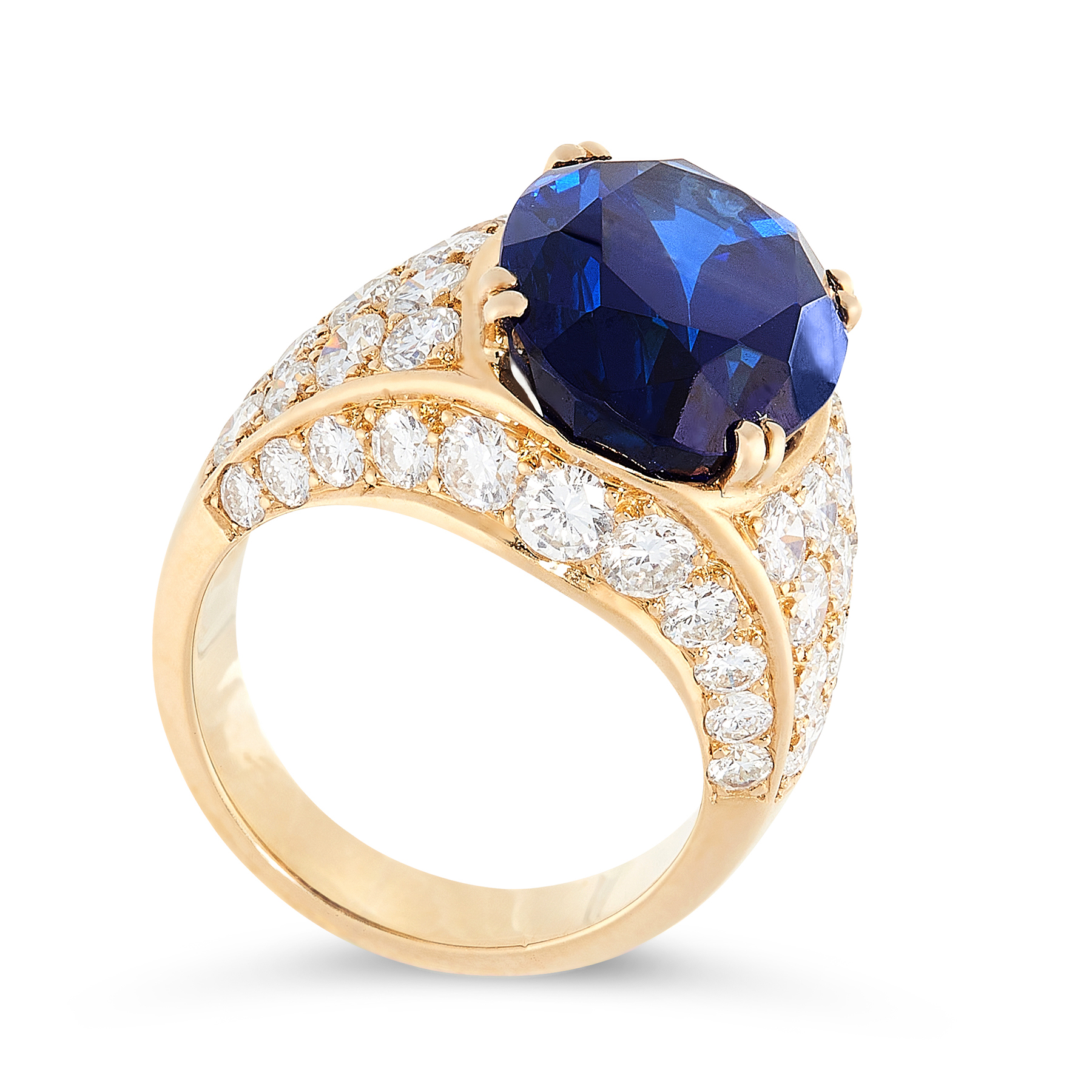 A 13.38 CARAT BURMA NO HEAT SAPPHIRE AND DIAMOND RING, VAN CLEEF & ARPELS set with an oval cut - Image 2 of 2