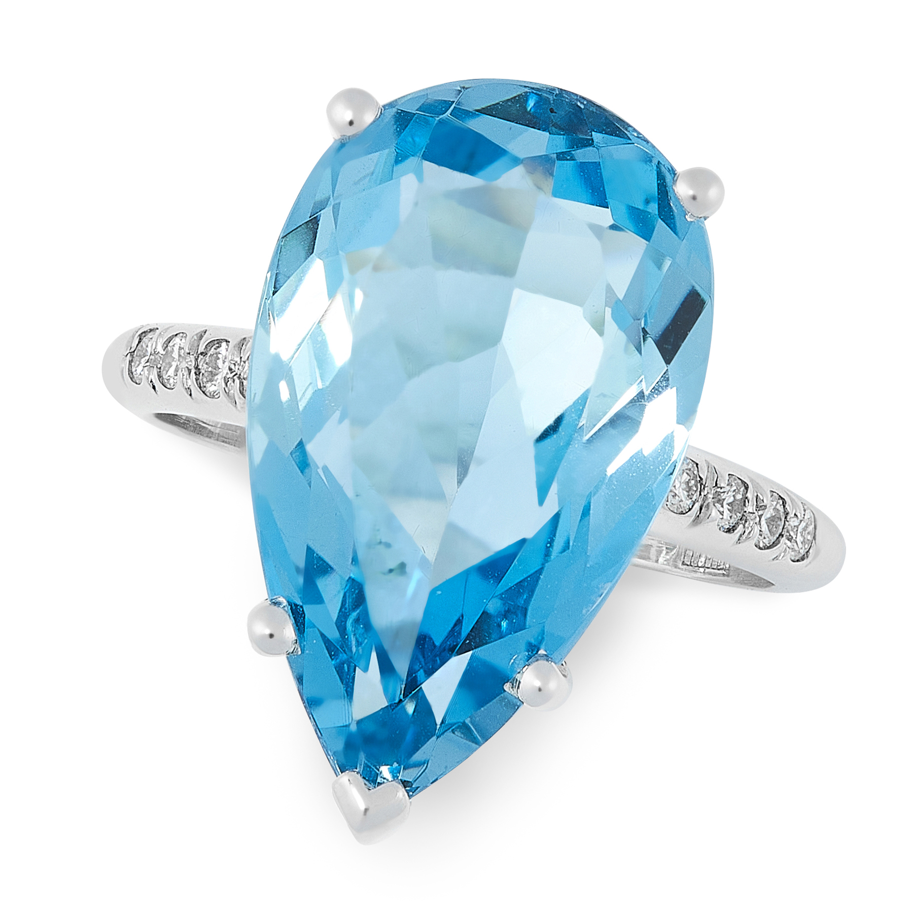 AN AQUAMARINE AND DIAMOND DRESS RING set with a pear cut aquamarine of 10.22 carats, flanked by