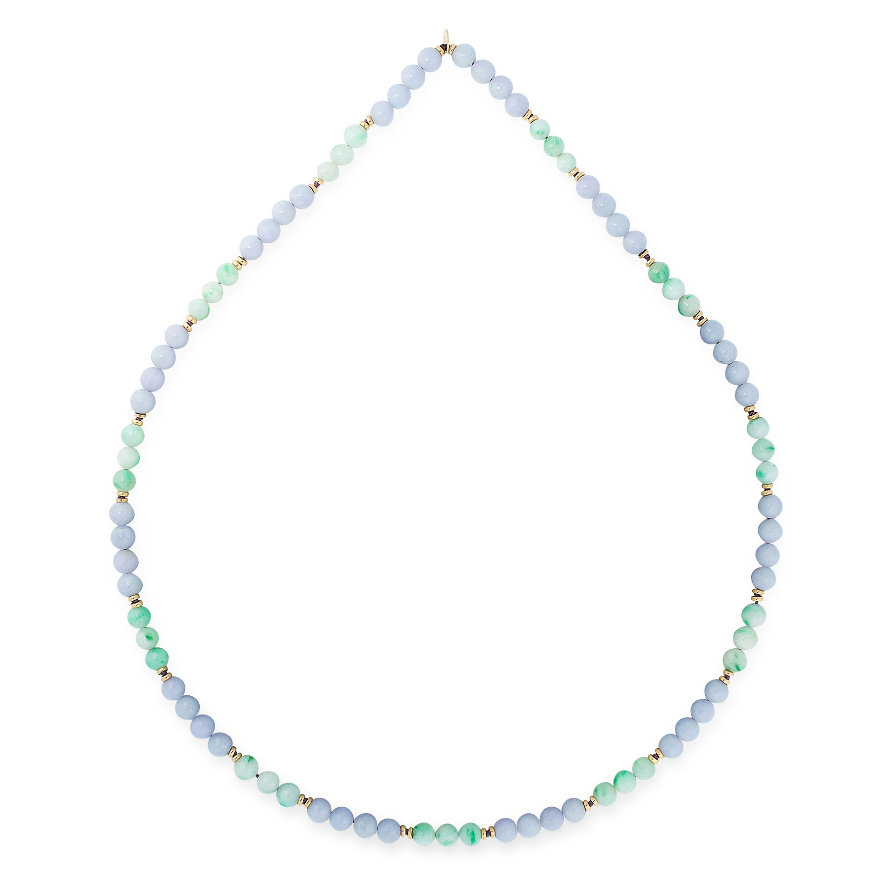A LAVENDER AND GREEN JADEITE JADE BEAD NECKLACE, TIFFANY & CO in 14ct yellow gold, comprising a