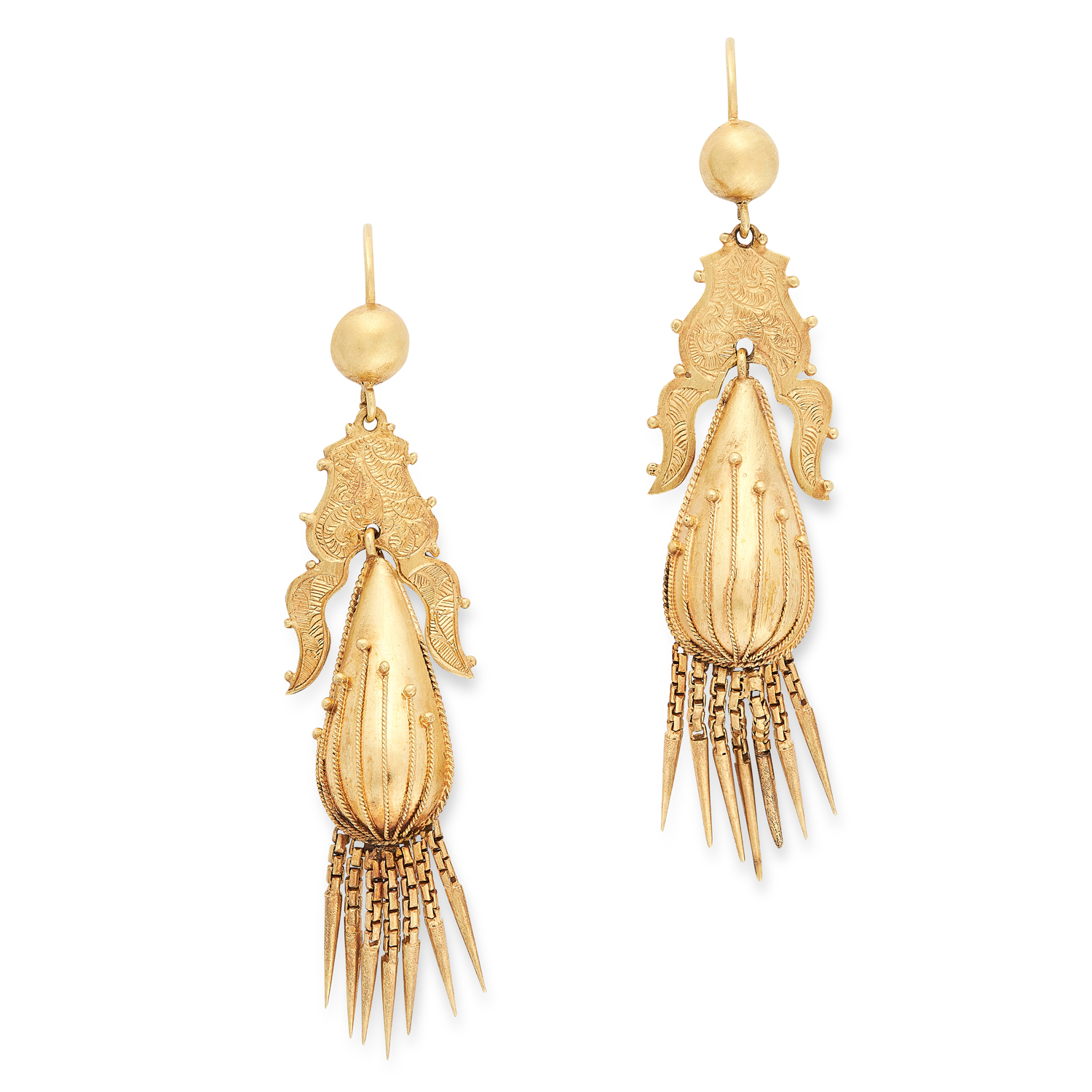 A PAIR OF ANTIQUE VICTORIAN TASSEL EARRINGS, 19TH CENTURY in high carat yellow gold, the articulated