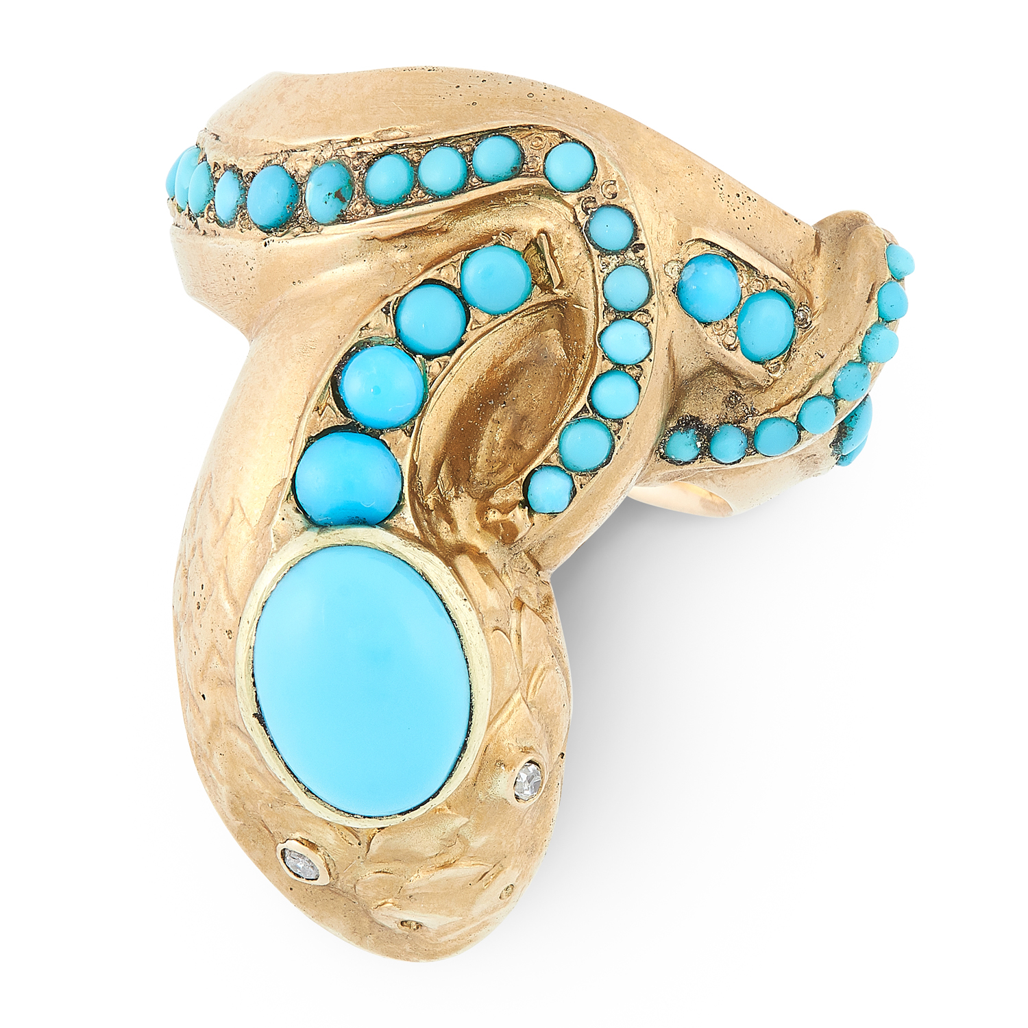 AN ANTIQUE TURQUOISE AND DIAMOND SNAKE RING, LATE 19TH CENTURY in high carat yellow gold, designed - Image 2 of 2