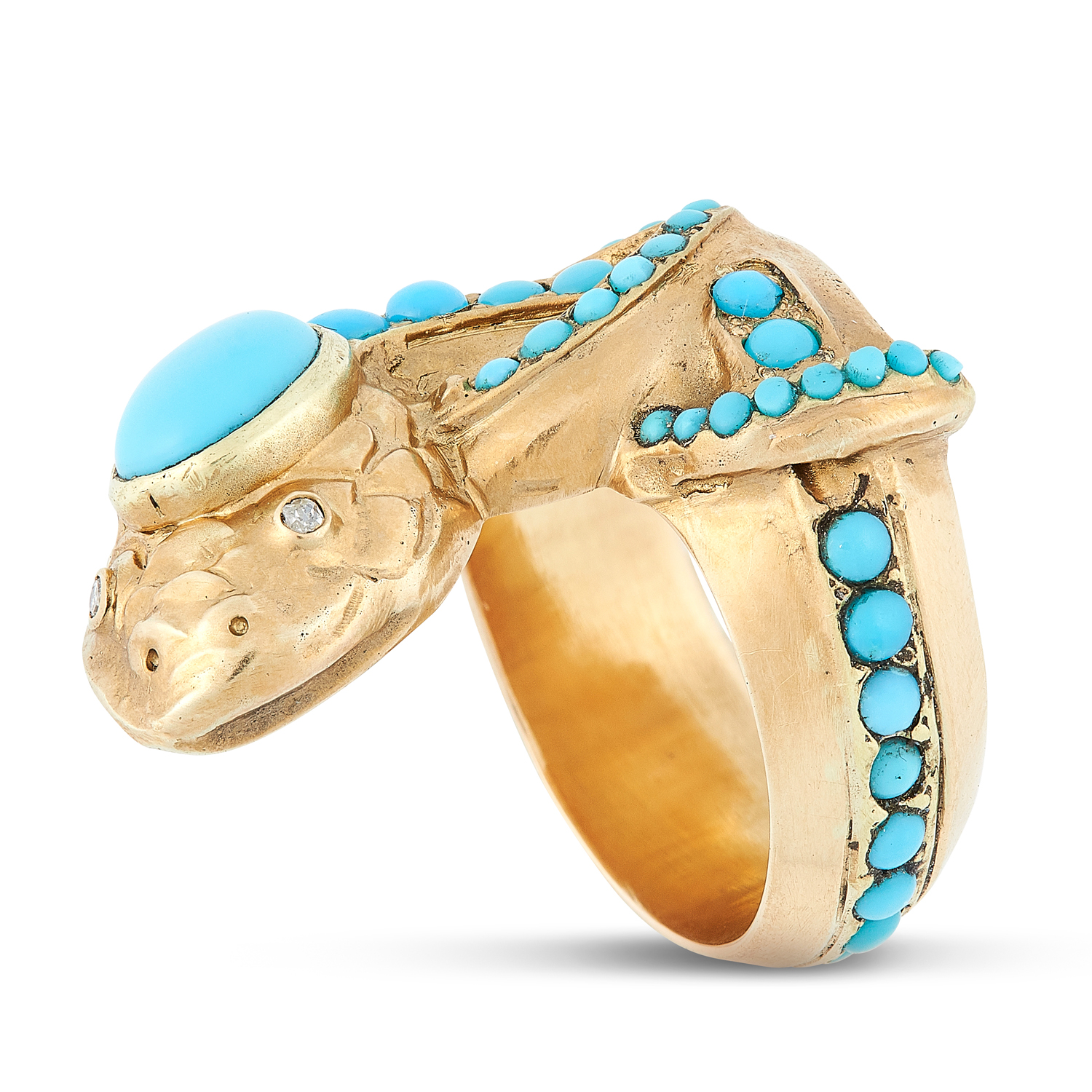 AN ANTIQUE TURQUOISE AND DIAMOND SNAKE RING, LATE 19TH CENTURY in high carat yellow gold, designed