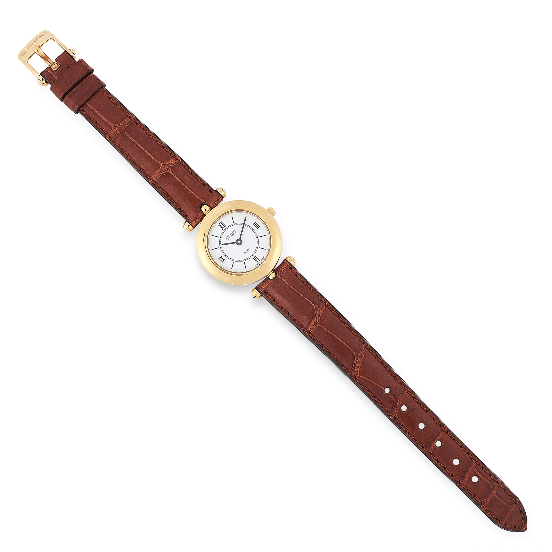 A VINTAGE LADIES WRIST WATCH, VAN CLEEF & ARPELS in 18ct yellow gold, the gold case with plain